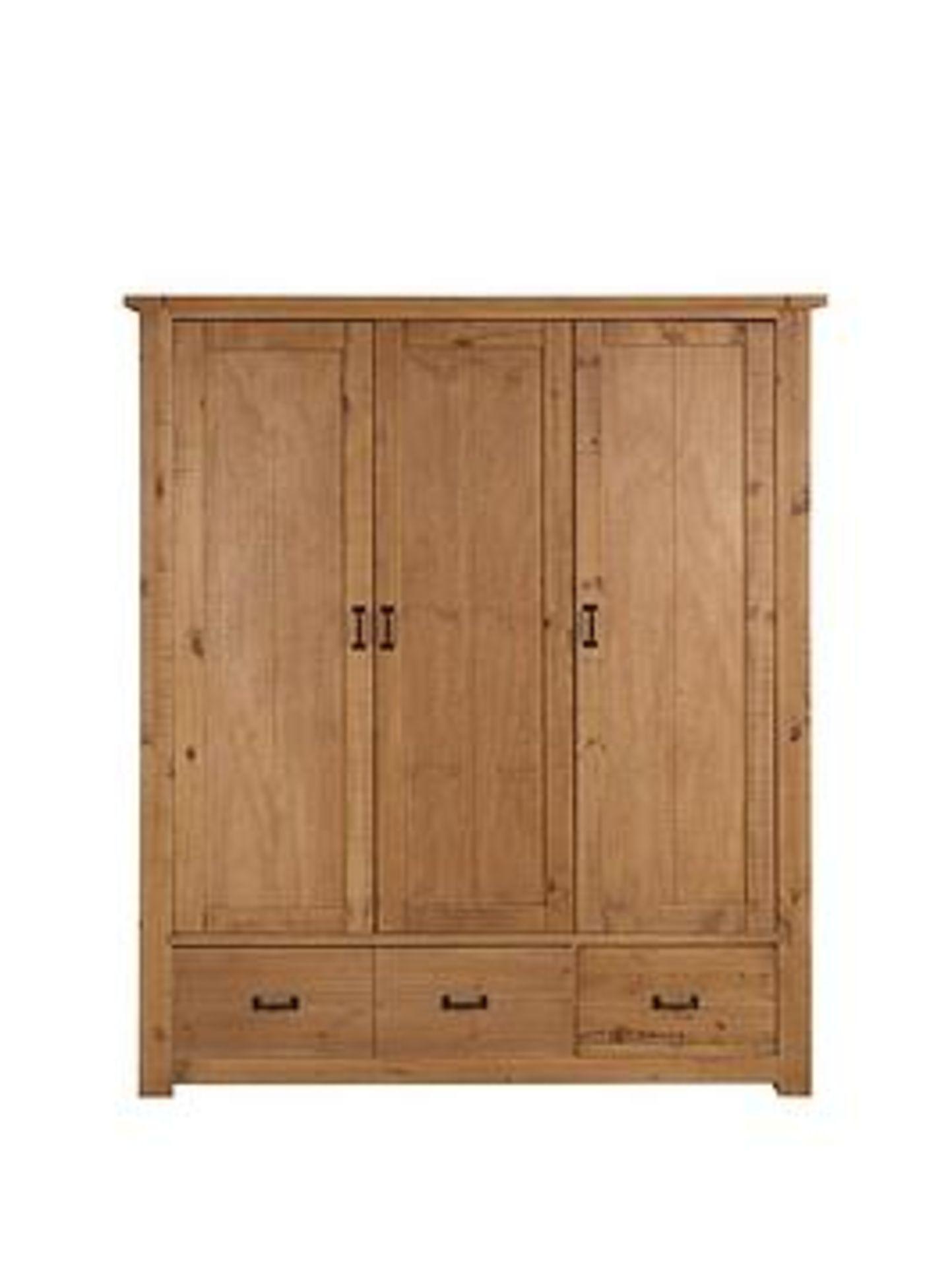 Lot 25 - Boxed Item Albion 3 Doors 3 Drawers Wardrobe [Pine] 185X157X56Cm Rrp:£569