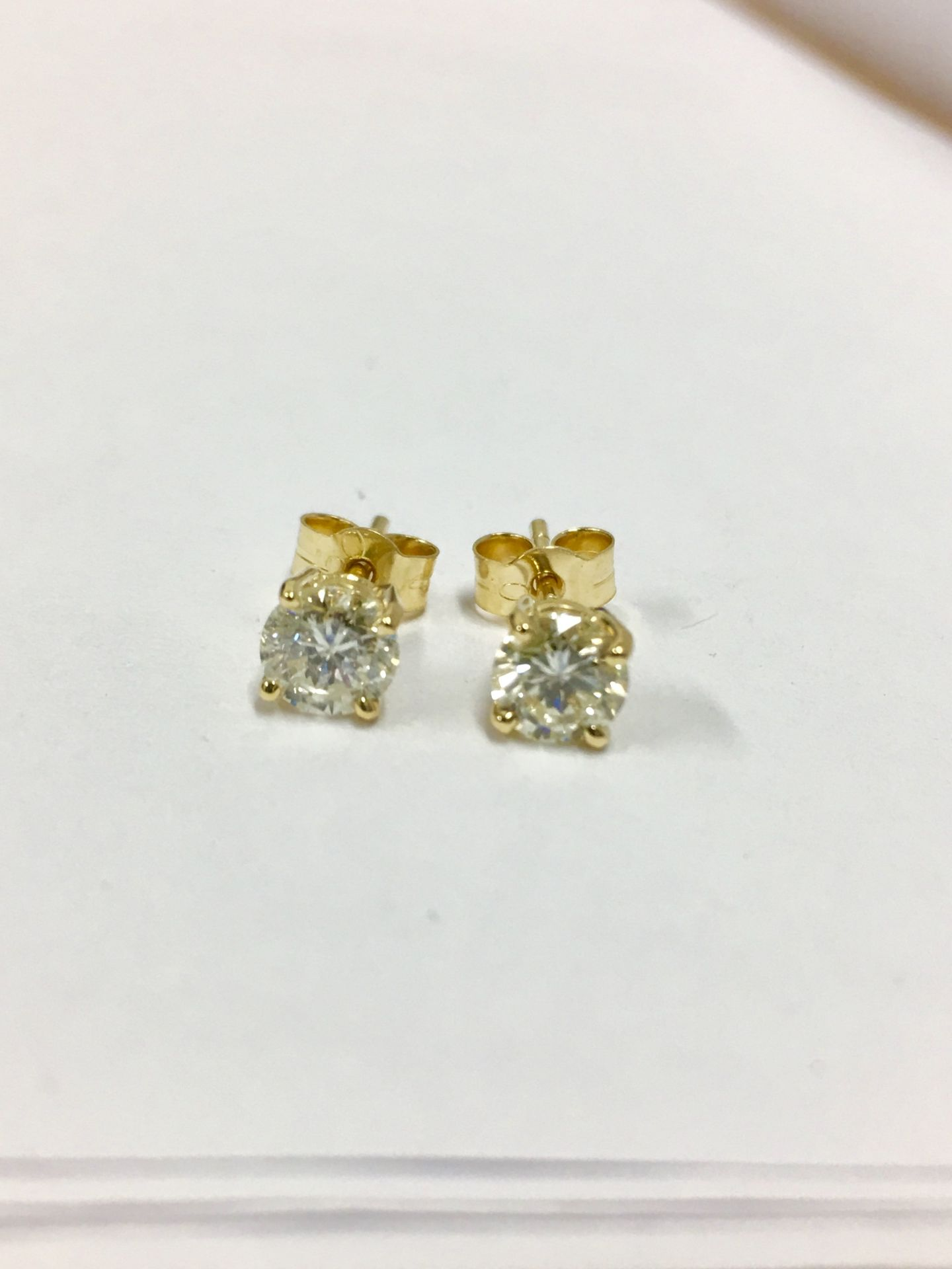 Lot 51 - 1.40Ct Diamond Solitaire Earrings Set With Brilliant Cut Diamonds,