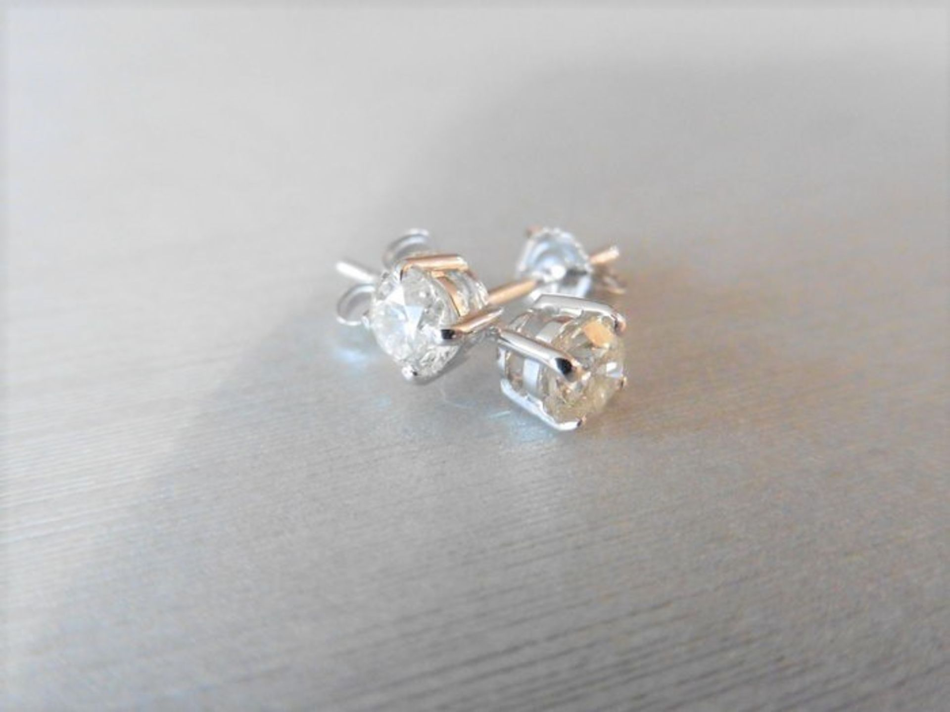 Lot 52 - 1.90Ct Diamond Solitaire Earrings Set With Brilliant Cut Diamonds,