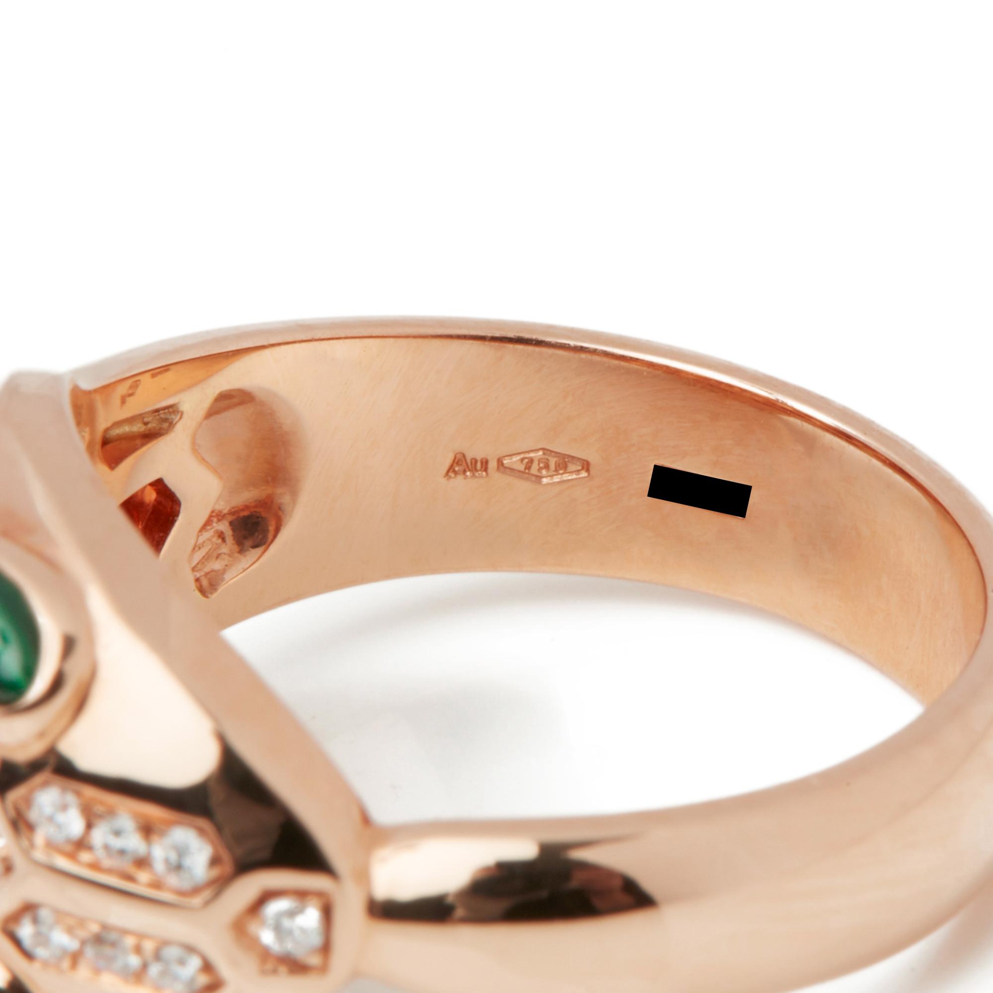 18k Rose Gold Diamond & Malachite Serpenti Ring - Image 6 of 10