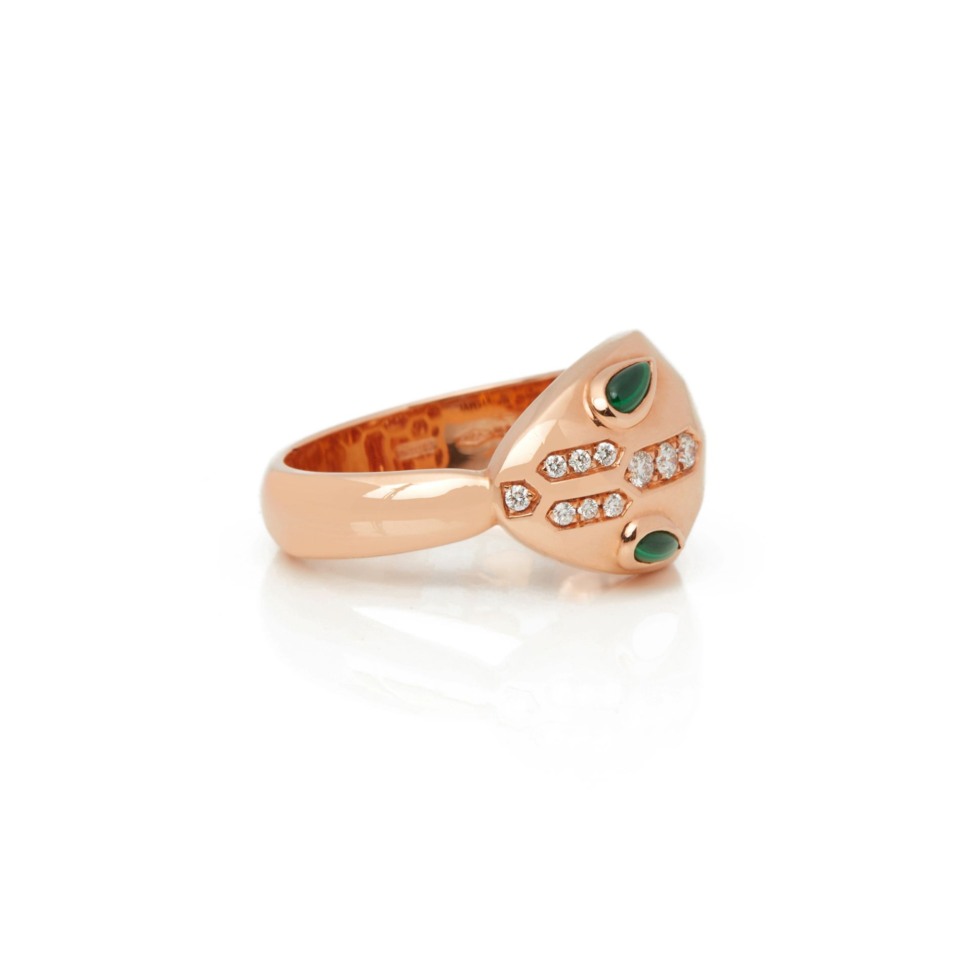 Lot 28 - 18k Rose Gold Diamond & Malachite Serpenti Ring