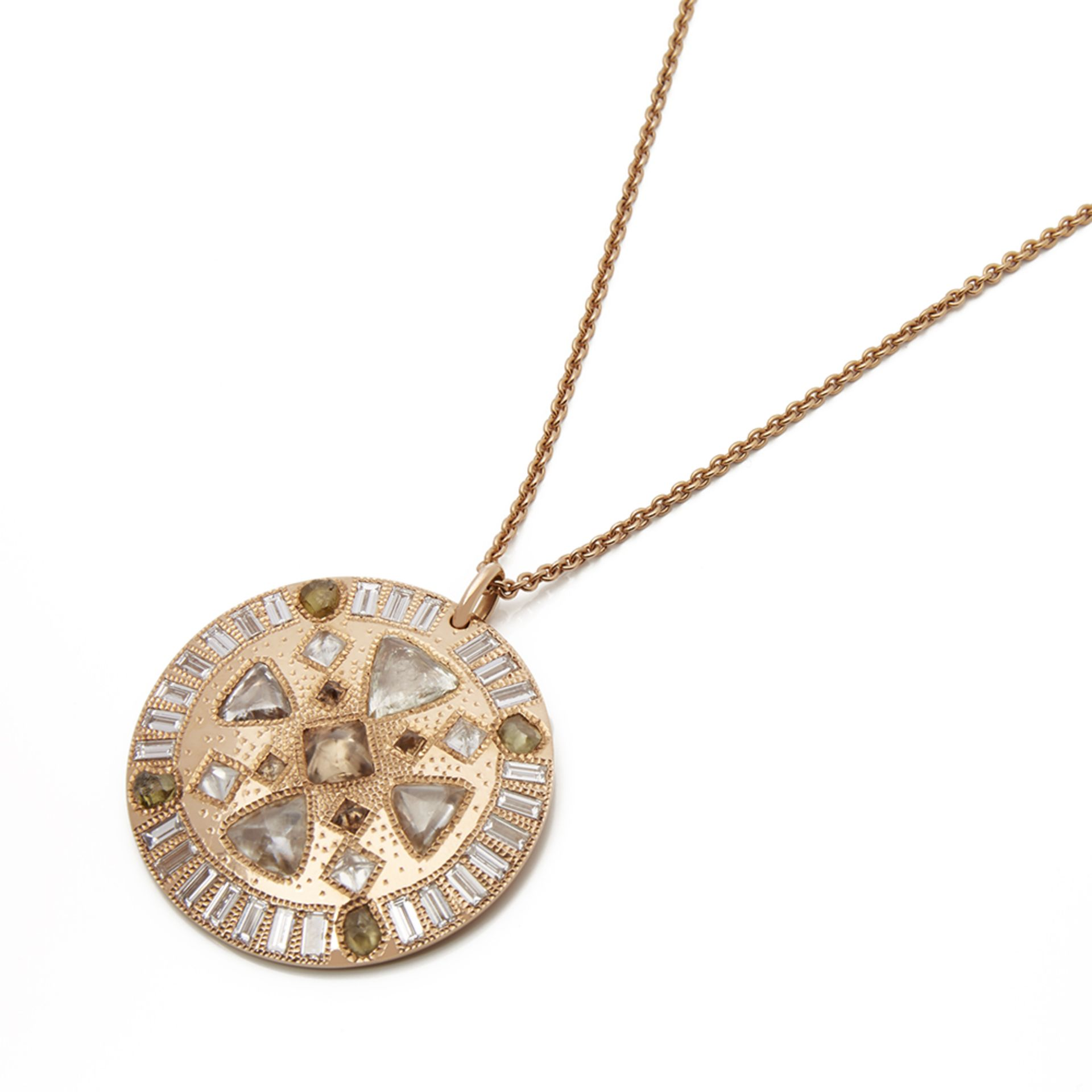 Lot 8 - 18k Rose Gold Diamond Hope Talisman Necklace