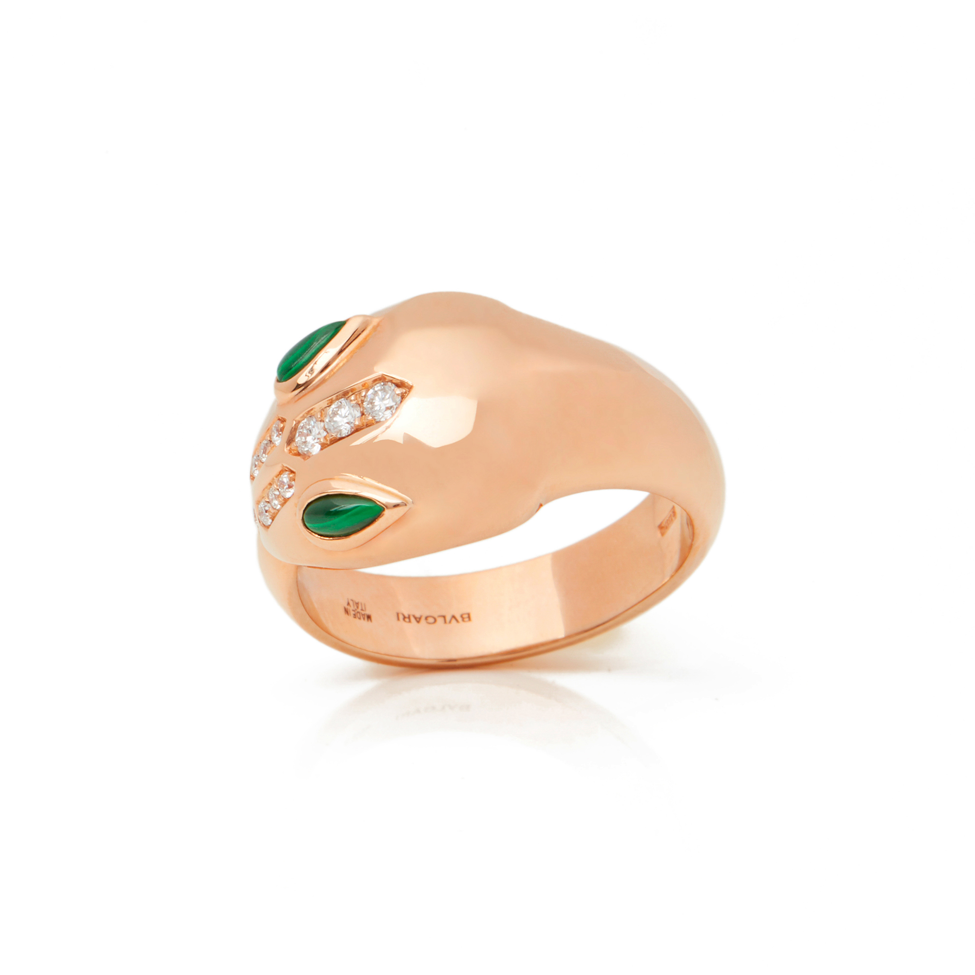 18k Rose Gold Diamond & Malachite Serpenti Ring