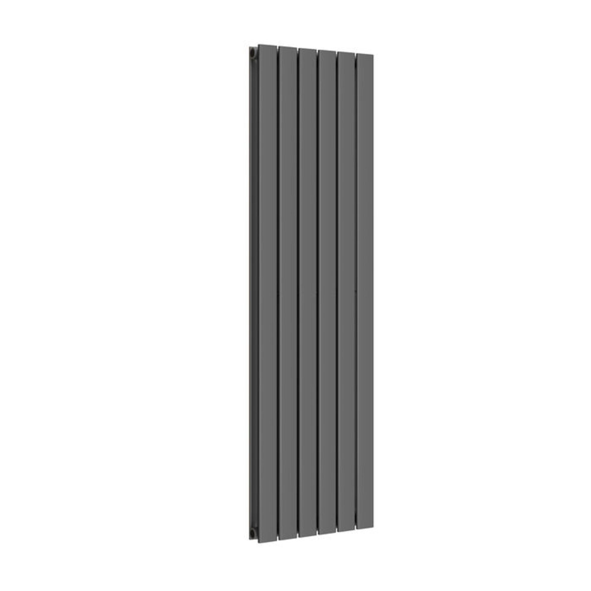 Lot 17 - 1600x480mm Anthracite Double Flat Panel Vertical Radiator. RRP £499.99. Made with low carbon s...