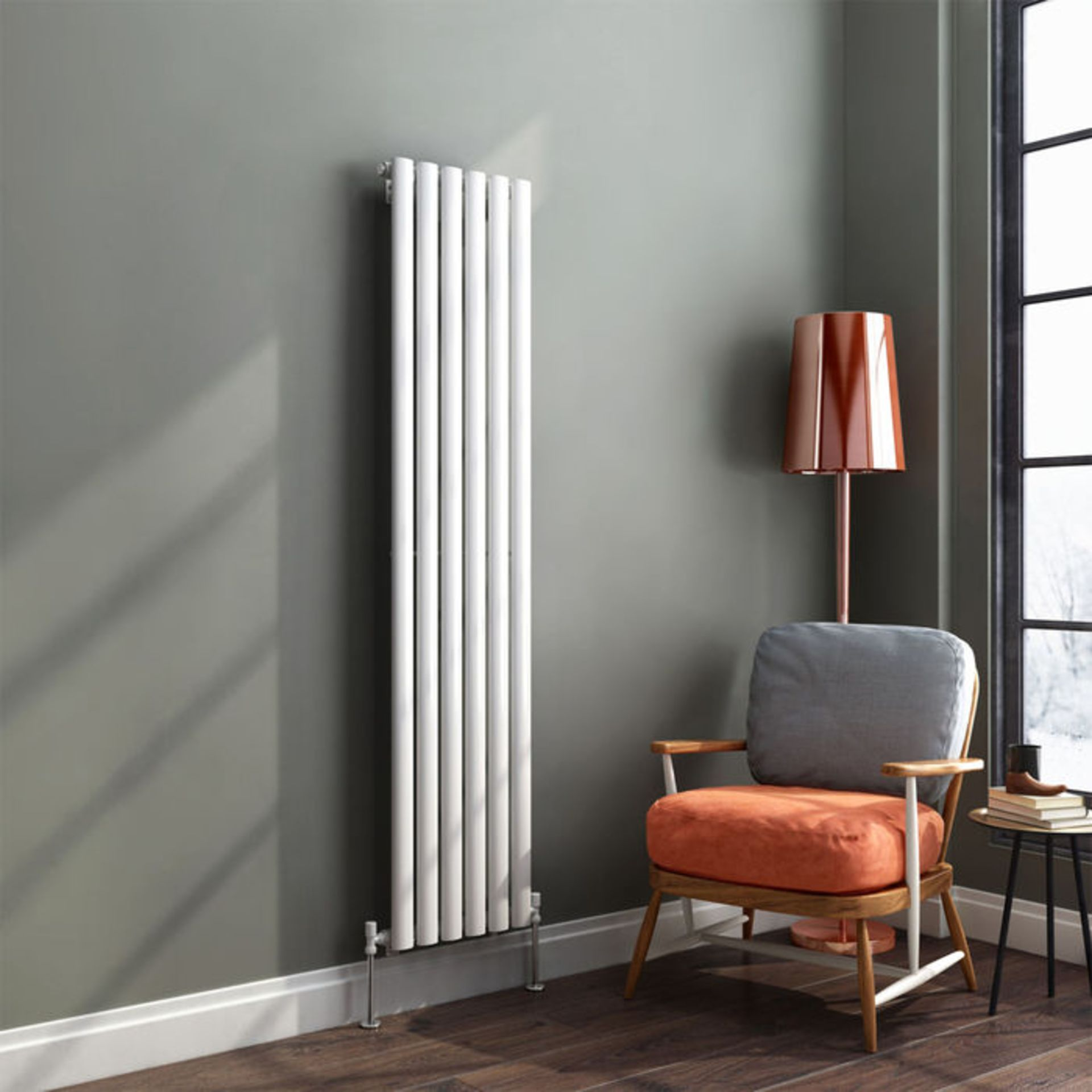Lot 12 - 1600x360mm Gloss White Single Oval Tube Vertical Radiator. RRP £230.99. Made from high qualit...