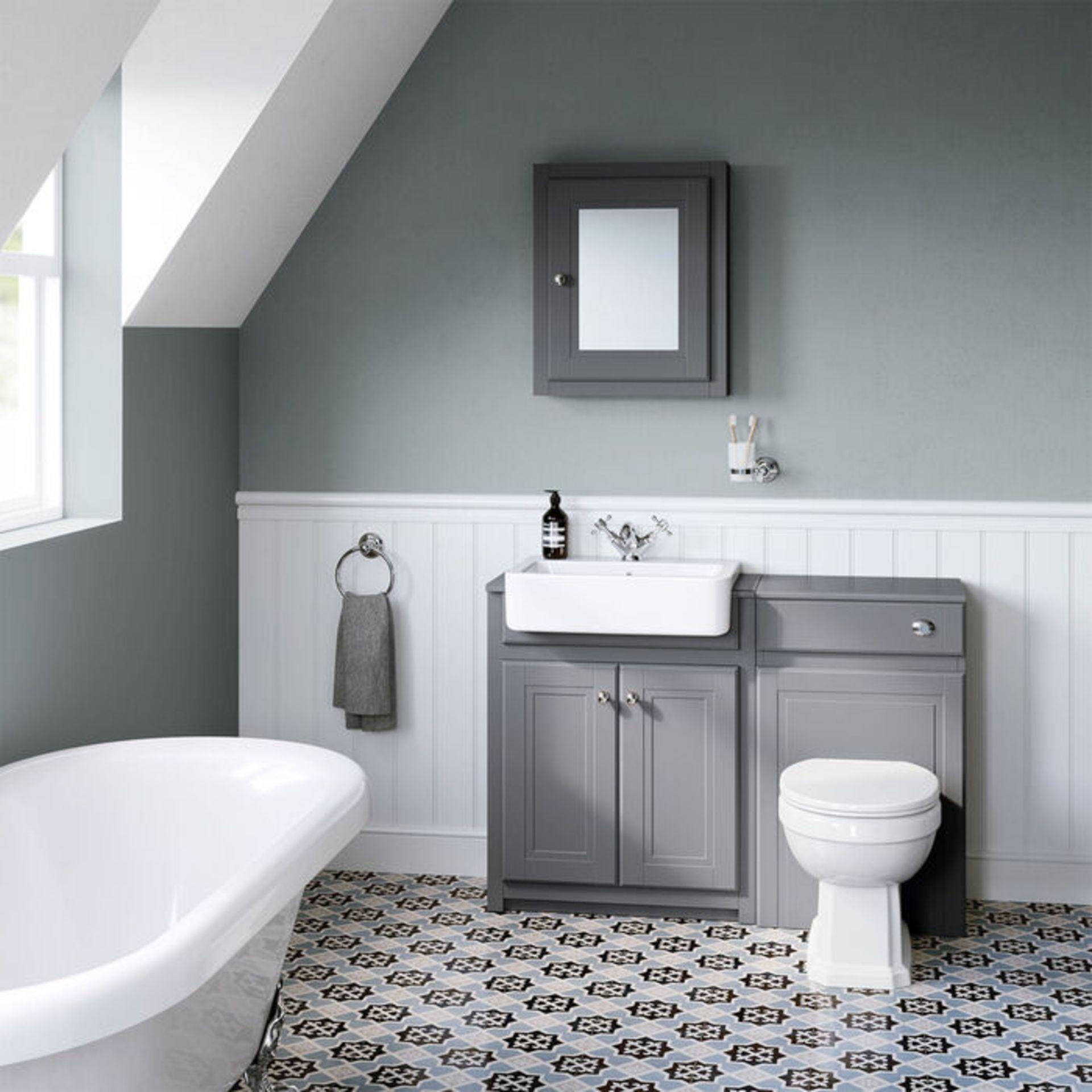 Lot 55 - (XX38) 500mm Cambridge Midnight Grey Single Door Mirror Cabinet. RRP £199.99. Traditional aest...