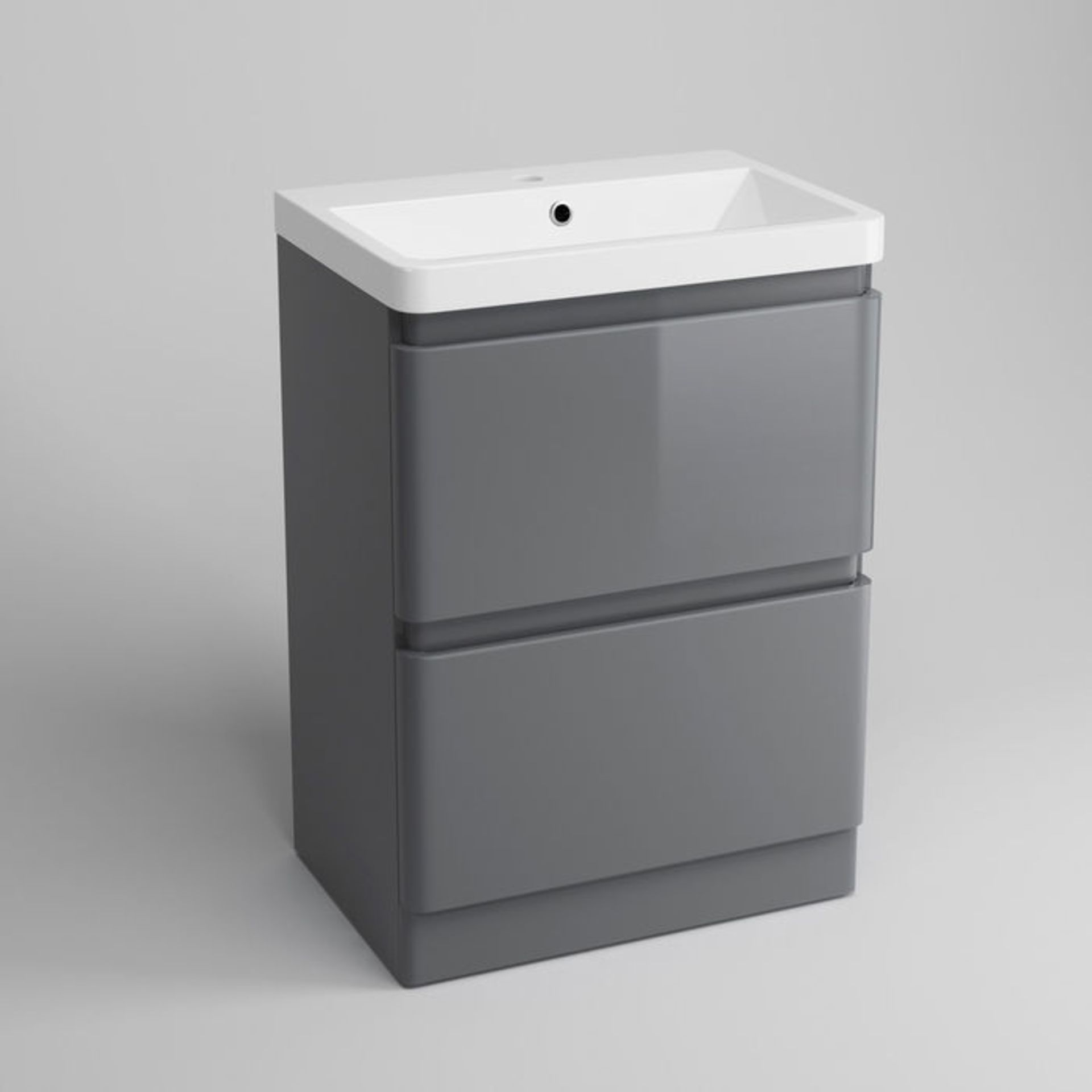 Lot 3 - (XX3) 600mm Denver Gloss Grey Built In Sink Drawer Unit - Floor Standing. RRP £499.99. Comes c...