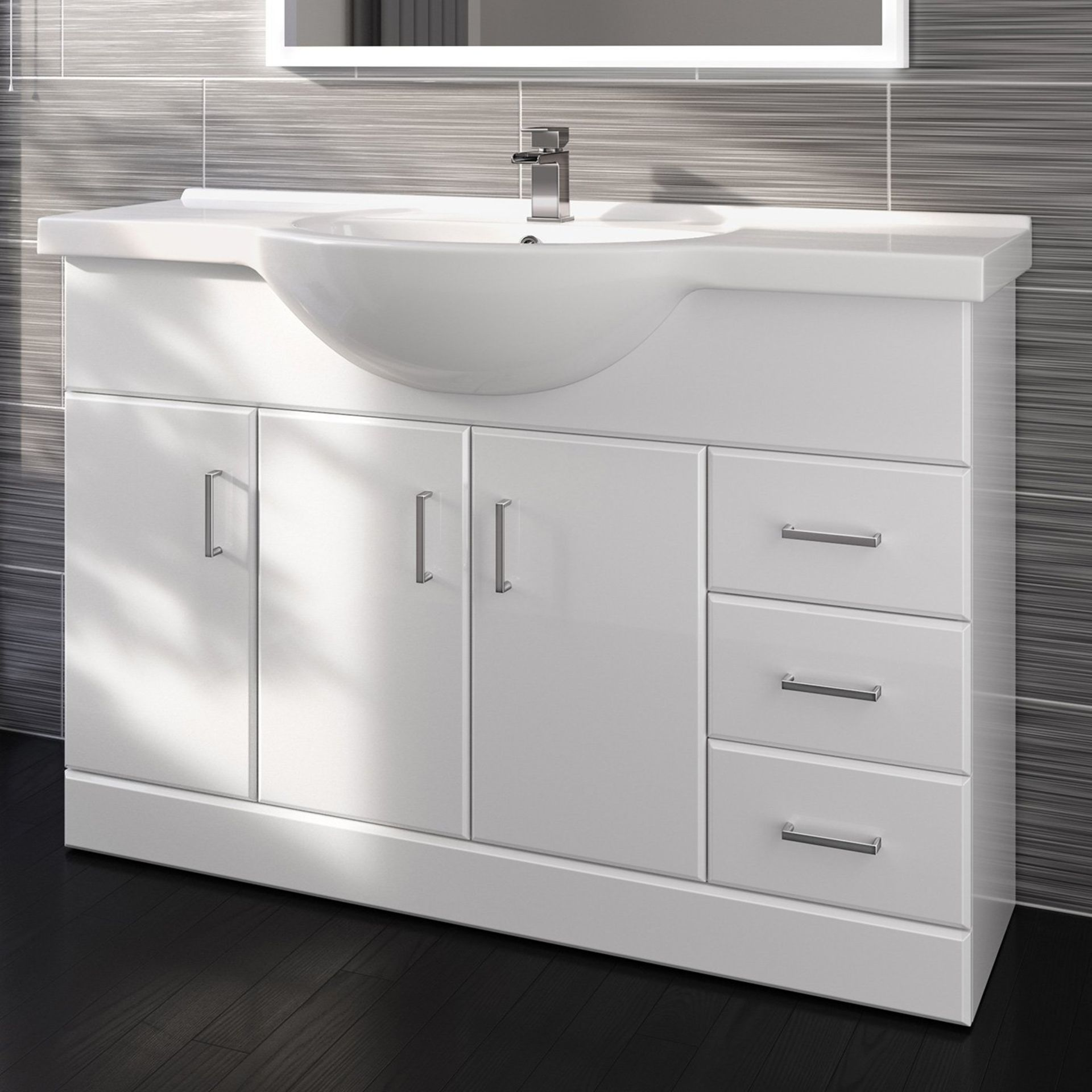 Lot 2 - (ED256) 1200mm White Gloss Basin Vanity Unit Sink Cabinet Bathroom. Comes complete with basin. ...