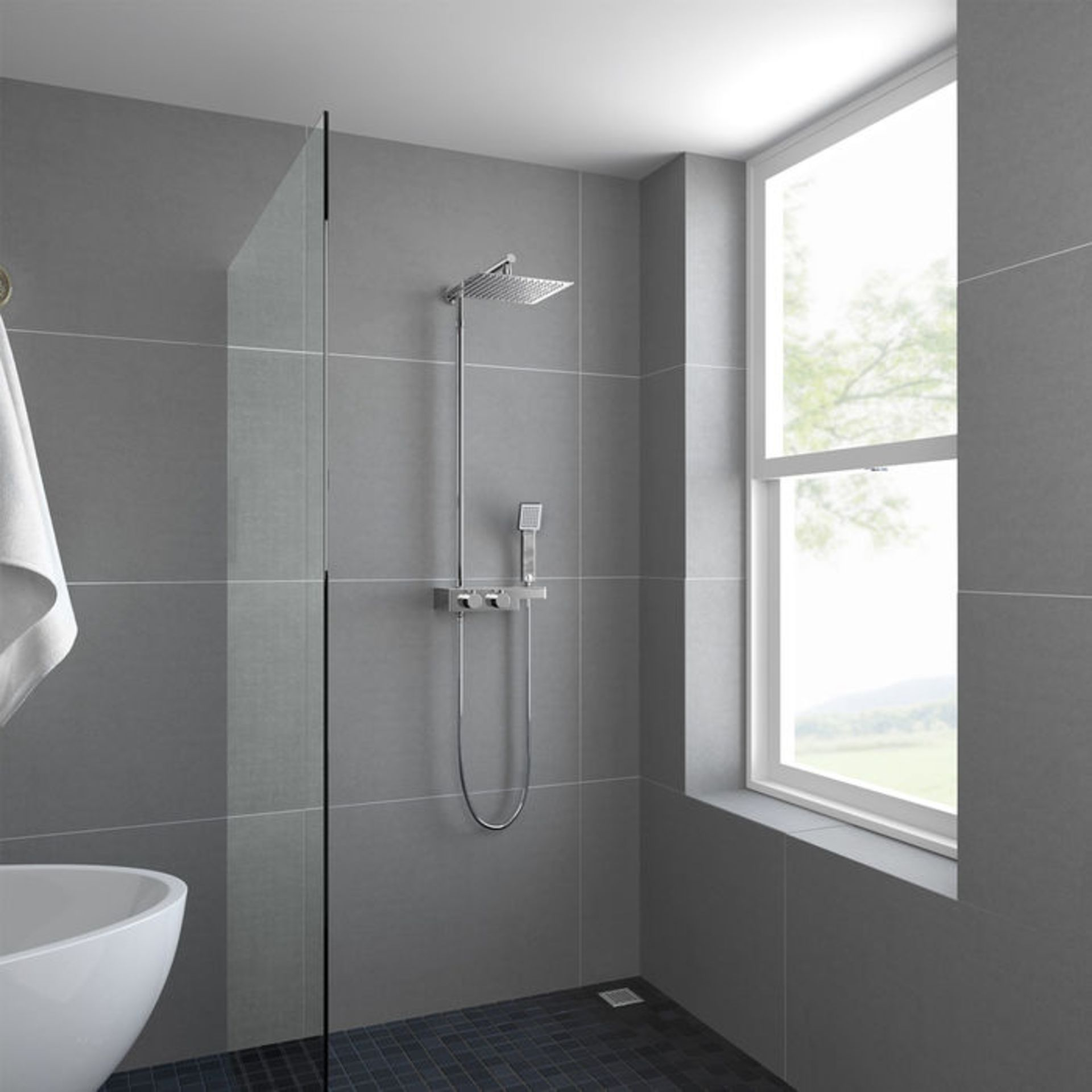 Lot 31 - (XX21) Square Exposed Thermostatic Shower Shelf, Kit & Large Head. RRP £349.99. Style meets fu...