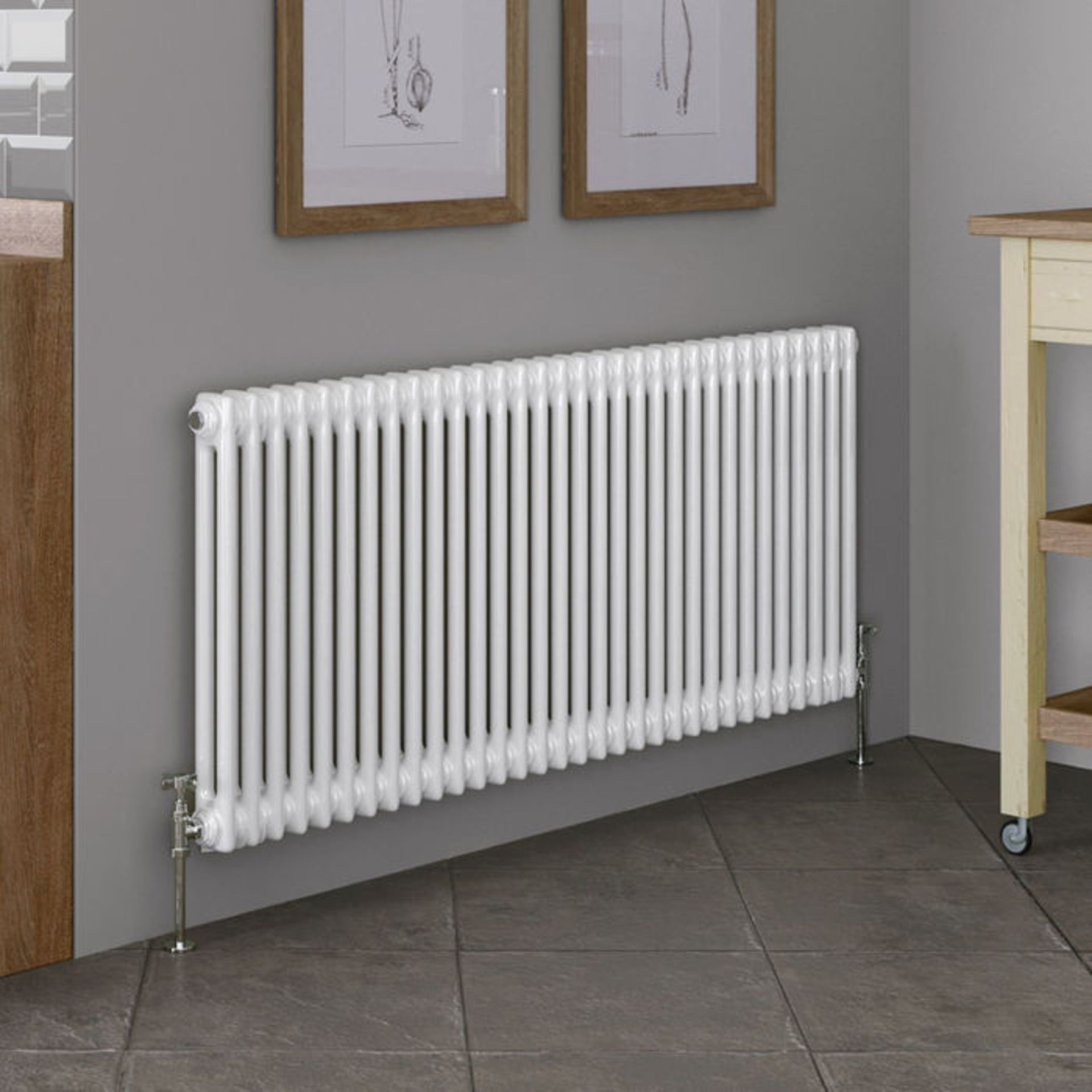 Lot 26 - (XX16) 600x1410mm White Double Panel Horizontal Colosseum Traditional Radiator. RRP £552.99. M...