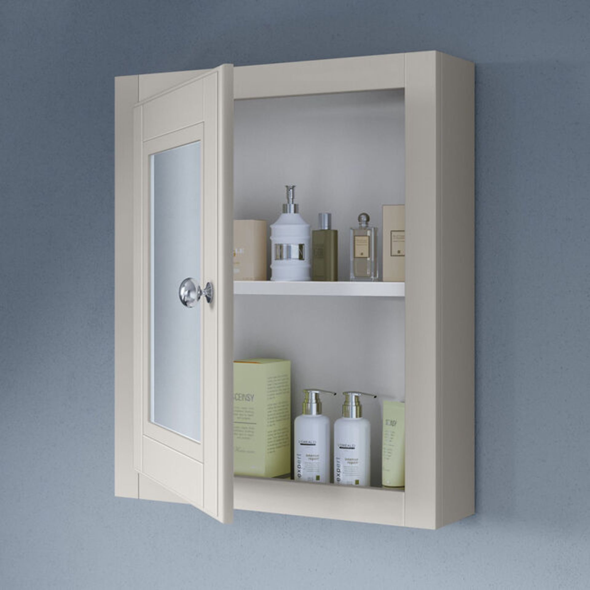 Lot 53 - (XX37) 500mm Cambridge Clotted Cream Single Door Mirror Cabinet. RRP £199.99. Traditional aest...