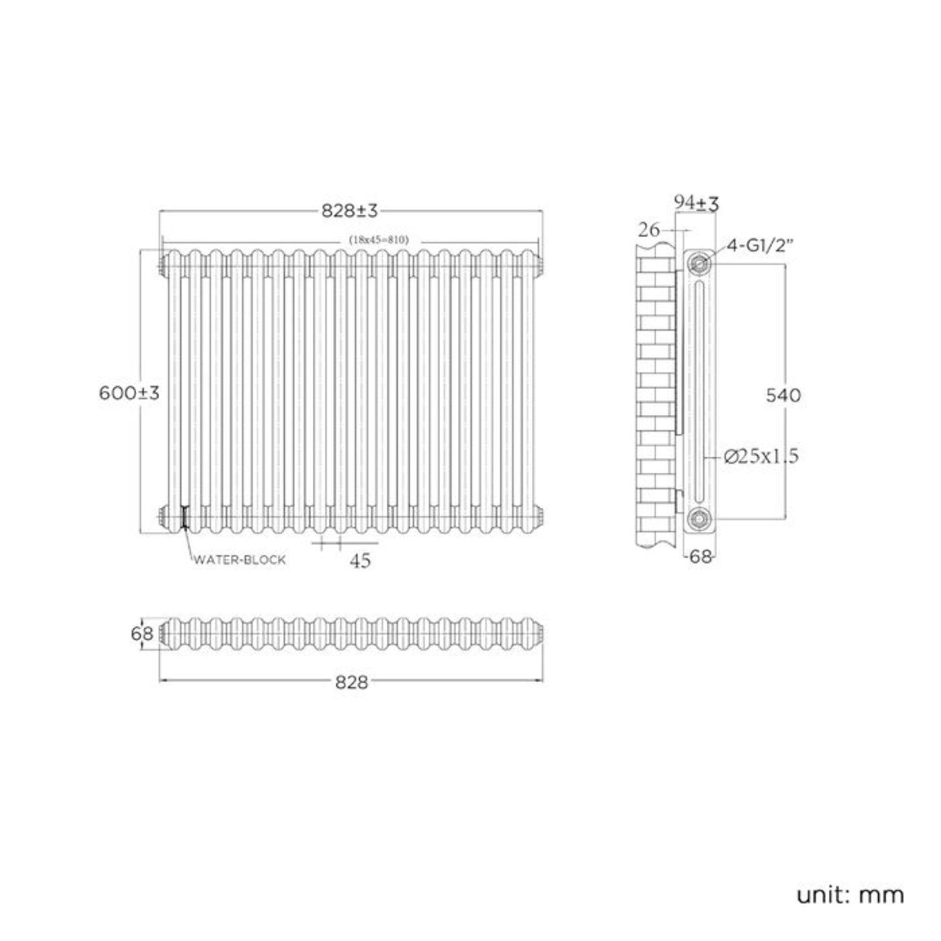 Lot 18 - 600x833mm White Double Panel Horizontal Colosseum Traditional Radiator. RRP £393.99. For elega...