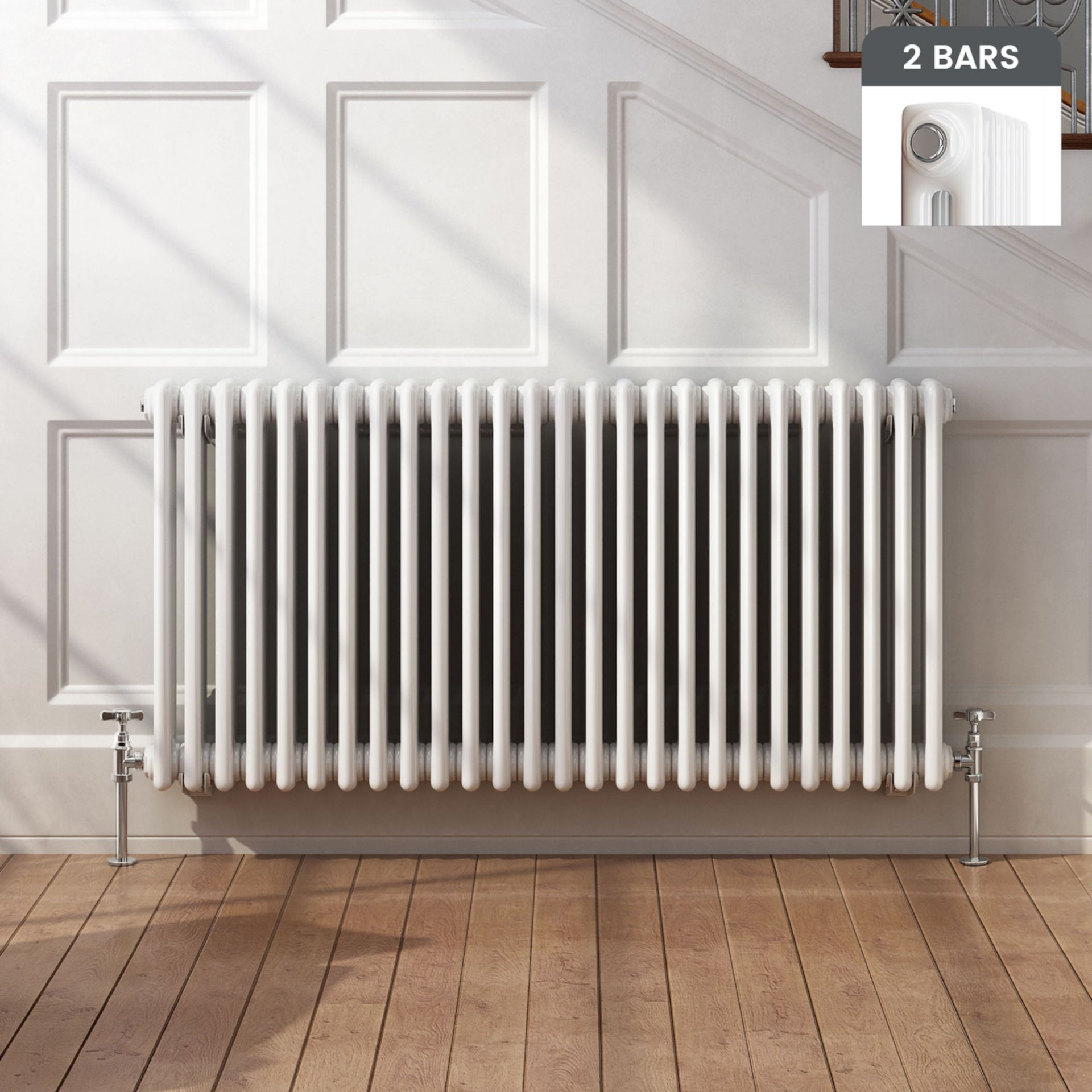 Lot 27 - (XX17) 600x1226mm Traditional White Double Panel Horizontal Column Radiator. RRP £541.99. For ...