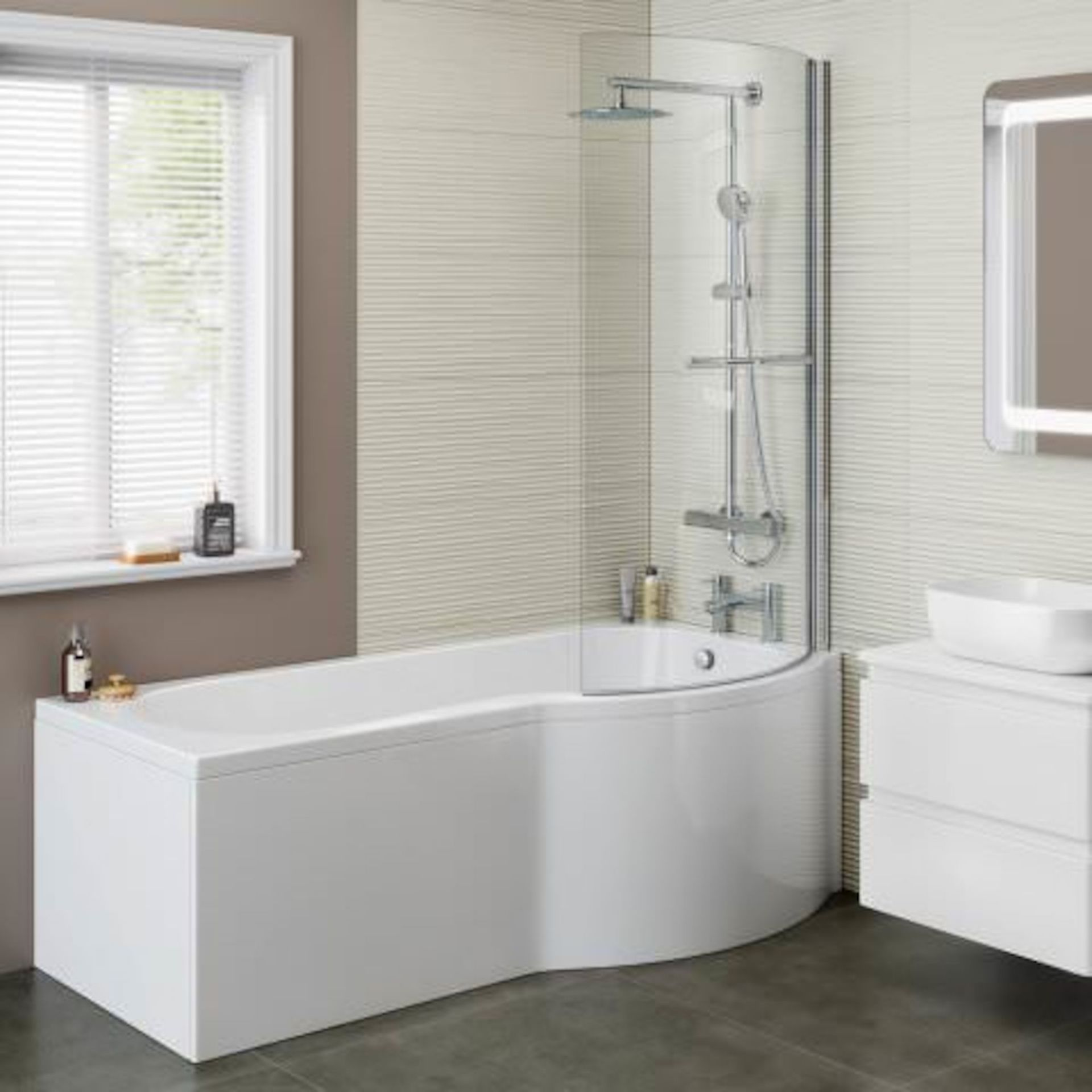 Lot 41 - (XX27) 1700x850mm - Right Hand P-Shaped Bath with Front Panel and bath screen. RRP £399.99. Id...