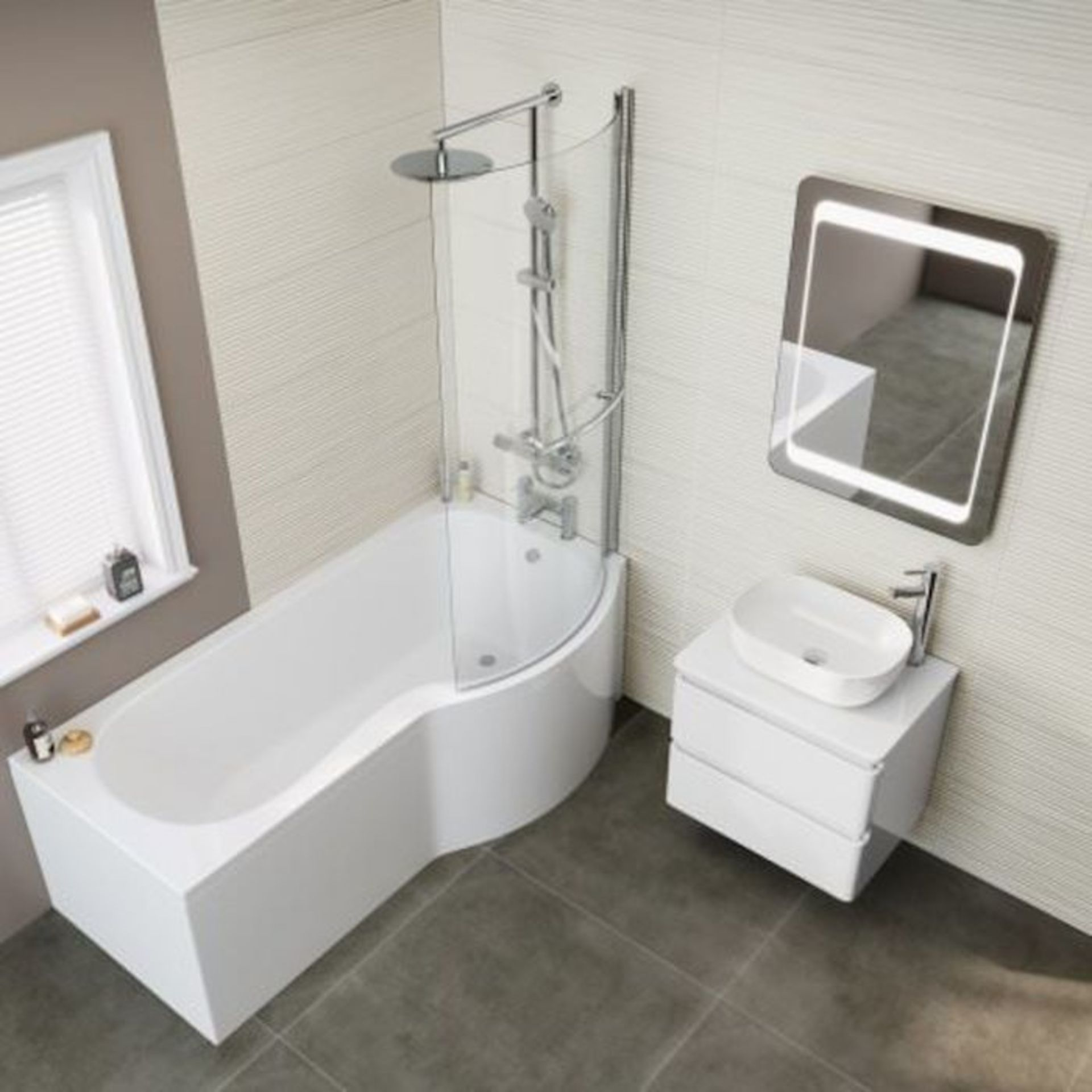 Lot 40 - (XX27) 1700x850mm - Right Hand P-Shaped Bath with Front Panel and bath screen. RRP £399.99. Id...