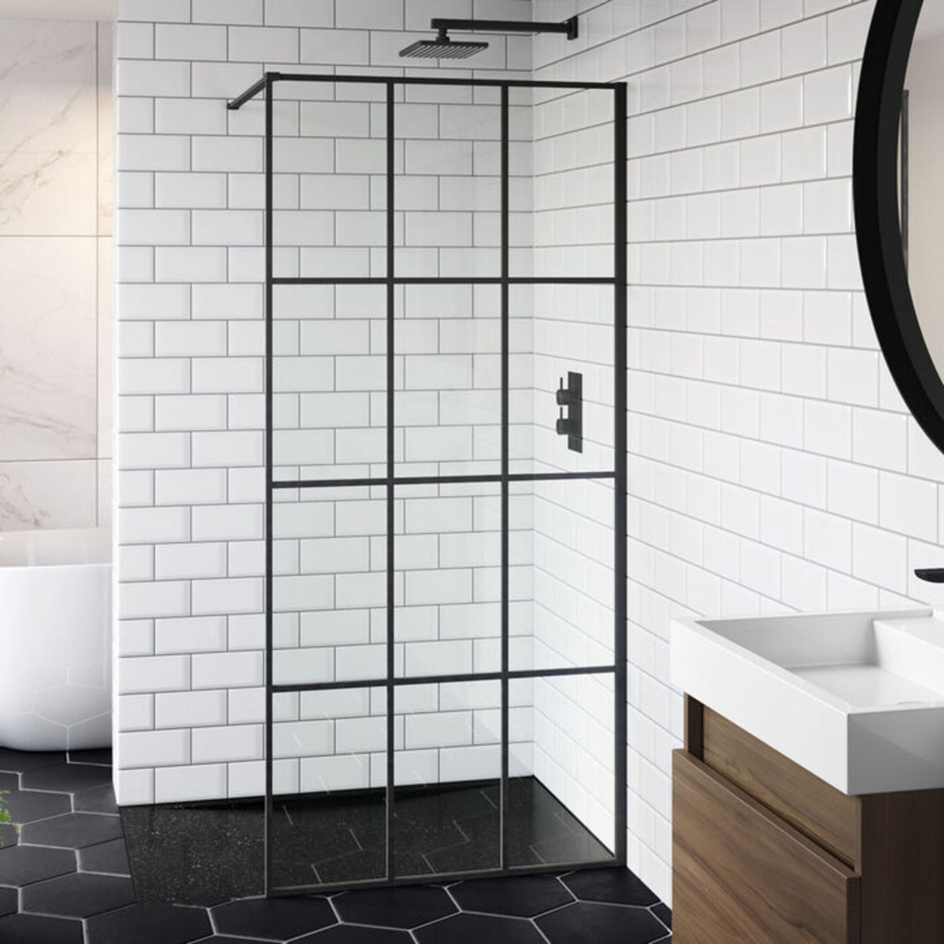 Lot 45 - (XX31) 900mm - 8mm Designer Black Shoji Crittall Style Shower Screen. EasyClean coating which h...