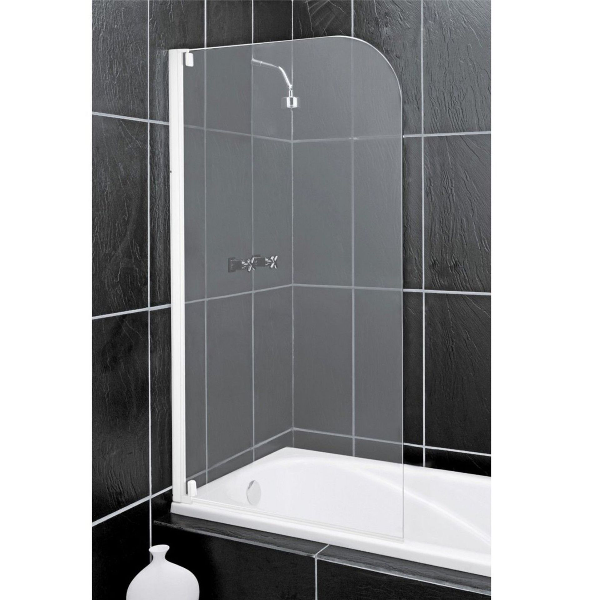 Lot 44 - (XX30) Half Framed 4mm Safety Glass White Radius Bath & Shower Screen Door Panel. This stylish ...