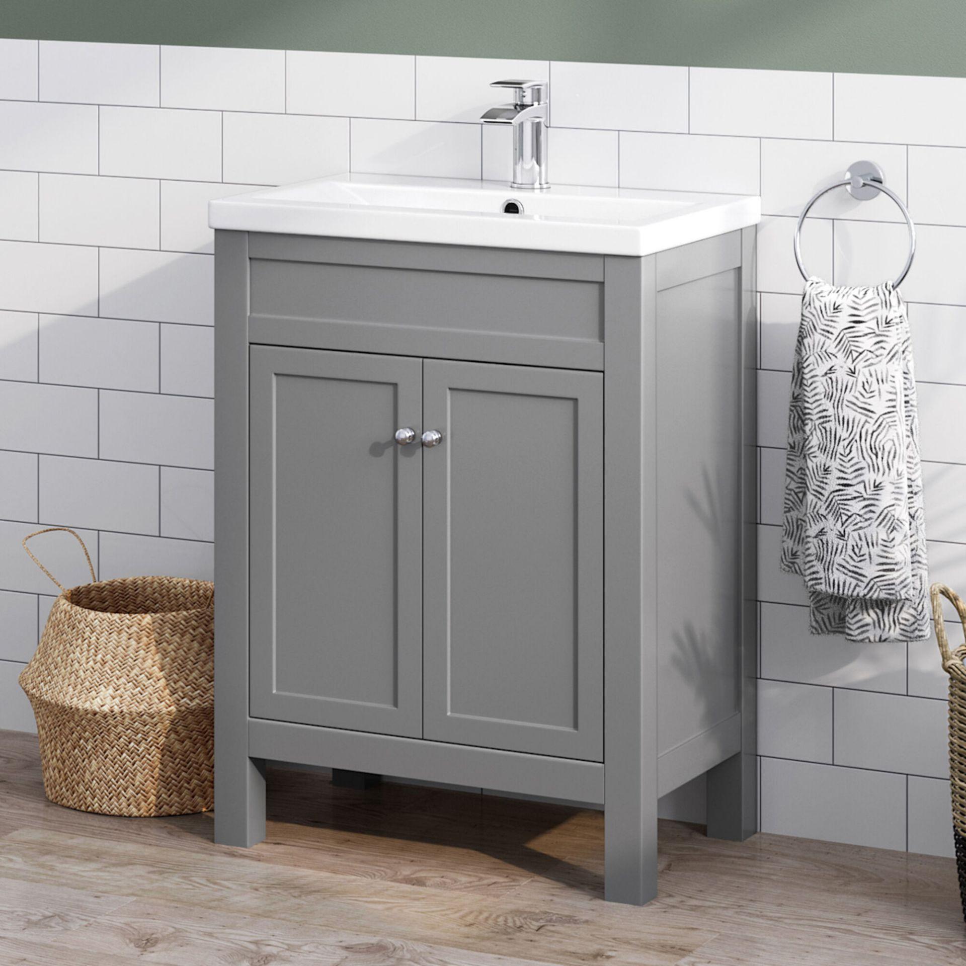 Lot 11 - (XX10) 600mm Melbourne Earl Grey Double Door Vanity Unit - Floor Standing. RRP £499.99. Comes ...