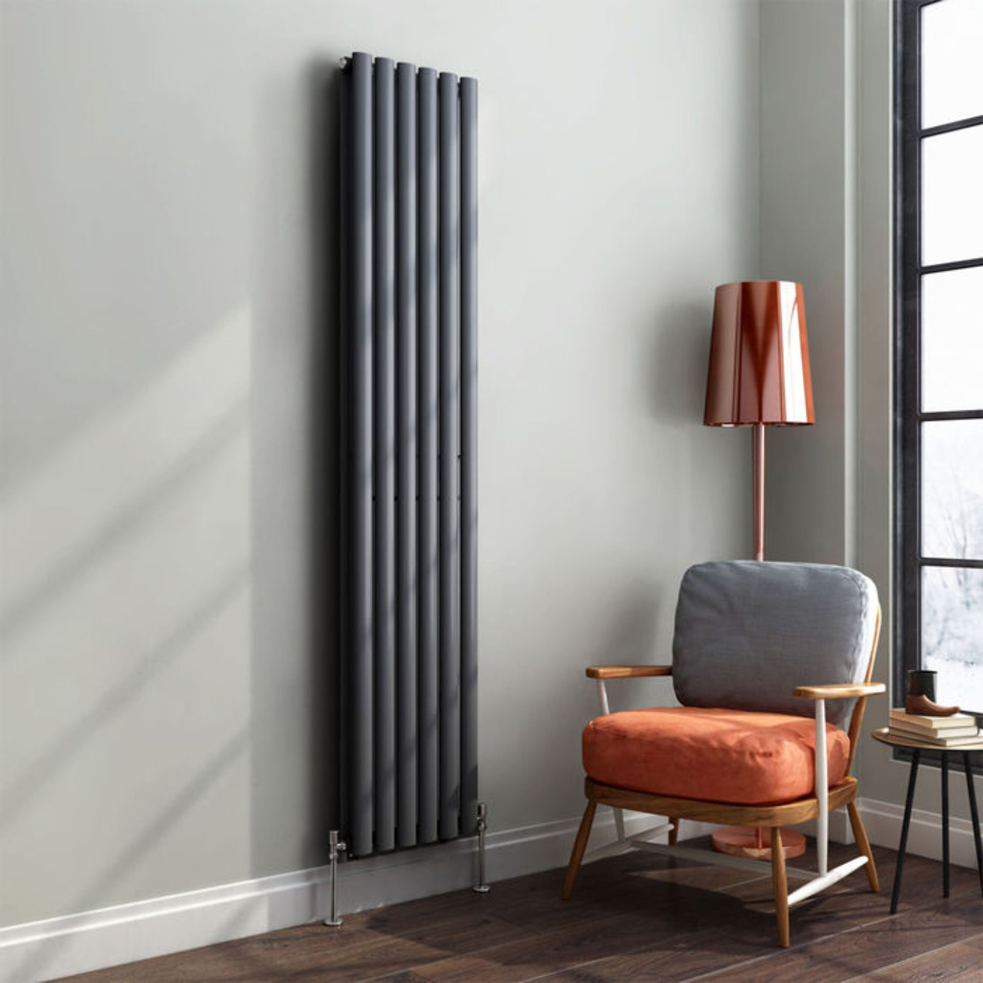 Lot 24 - 1800x360mm Anthracite Double Oval Tube Vertical Radiator. RRP £344.99. Made from high quality ...