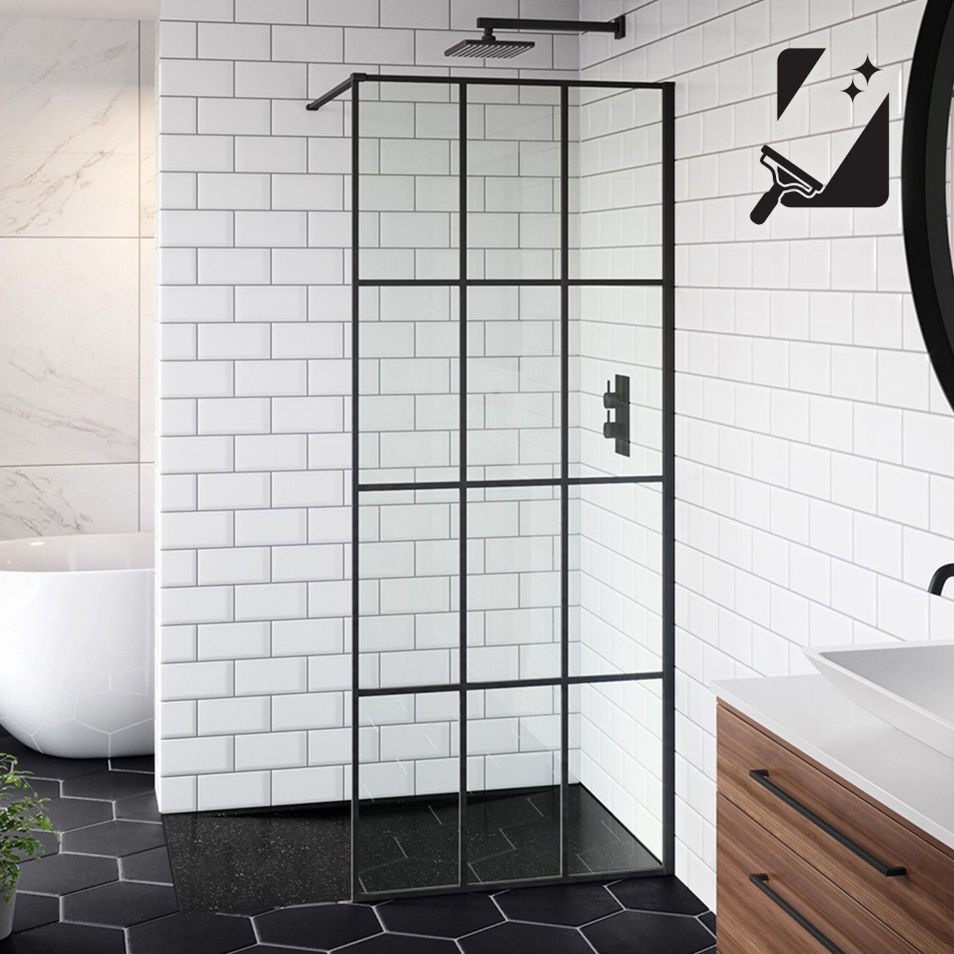 Lot 36 - (XX23) 800mm - 8mm Designer Black Shoji Crittall Style Shower Screen. RRP £399.99. EasyClean c...