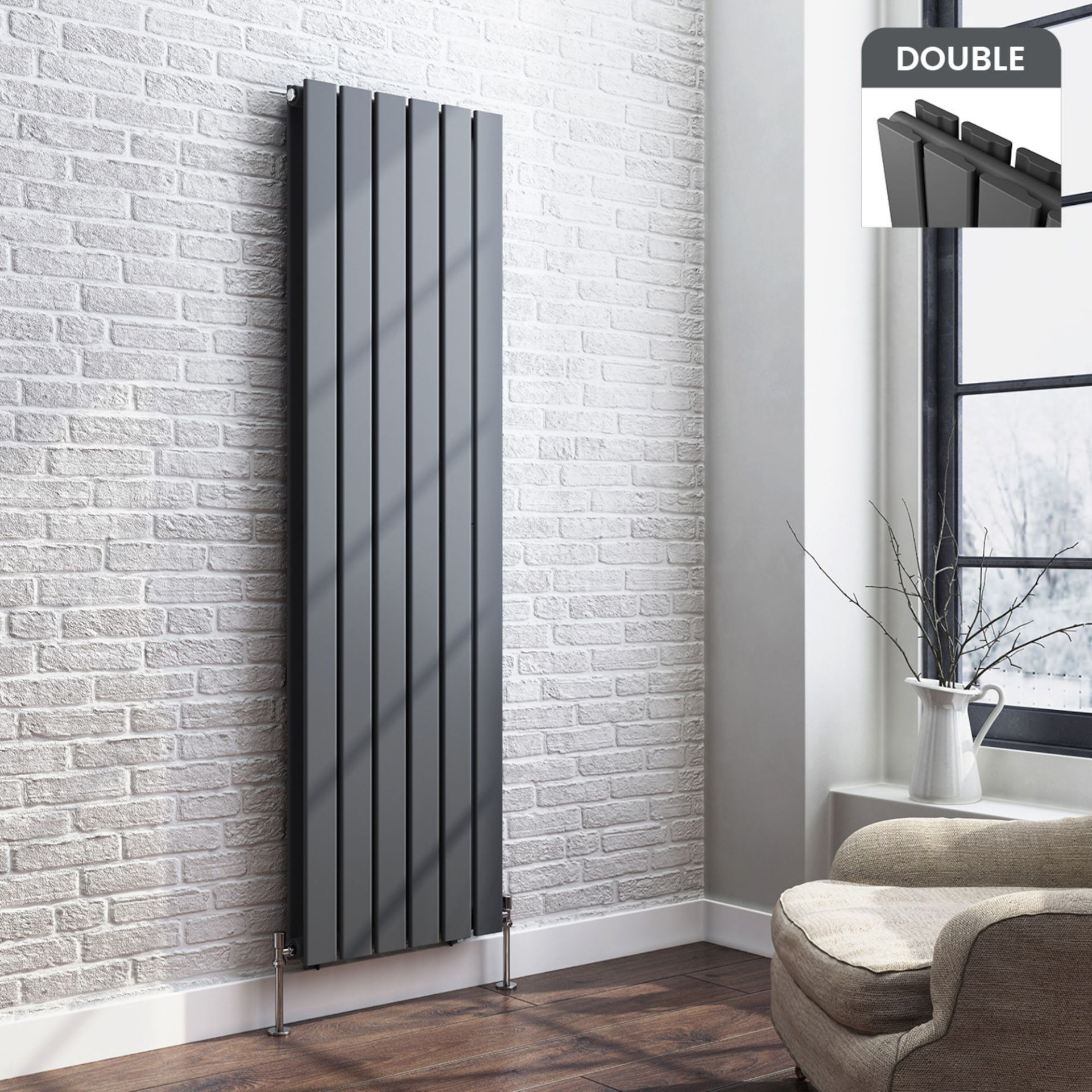 Lot 16 - 1600x480mm Anthracite Double Flat Panel Vertical Radiator. RRP £499.99. Made with low carbon s...