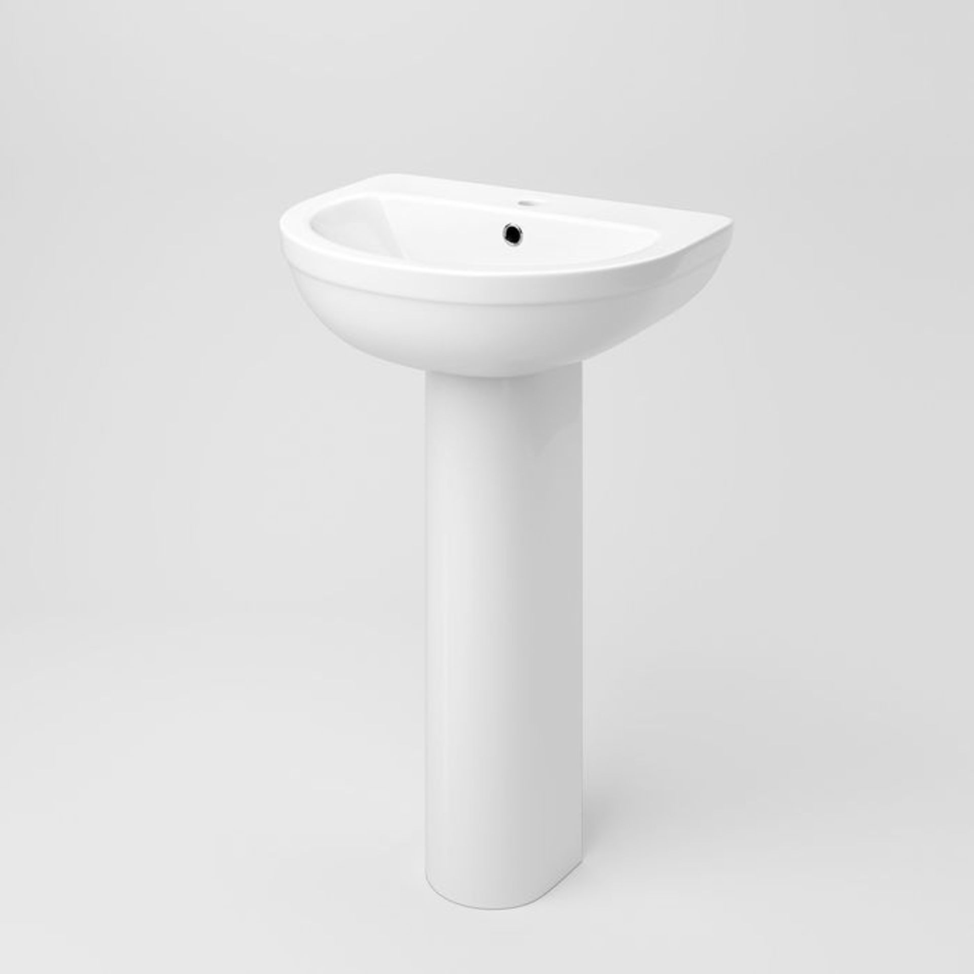 Lot 51 - (XX36) Sabrosa II Sink & Pedestal - Single Tap Hole. Made from White Vitreous China and finishe...