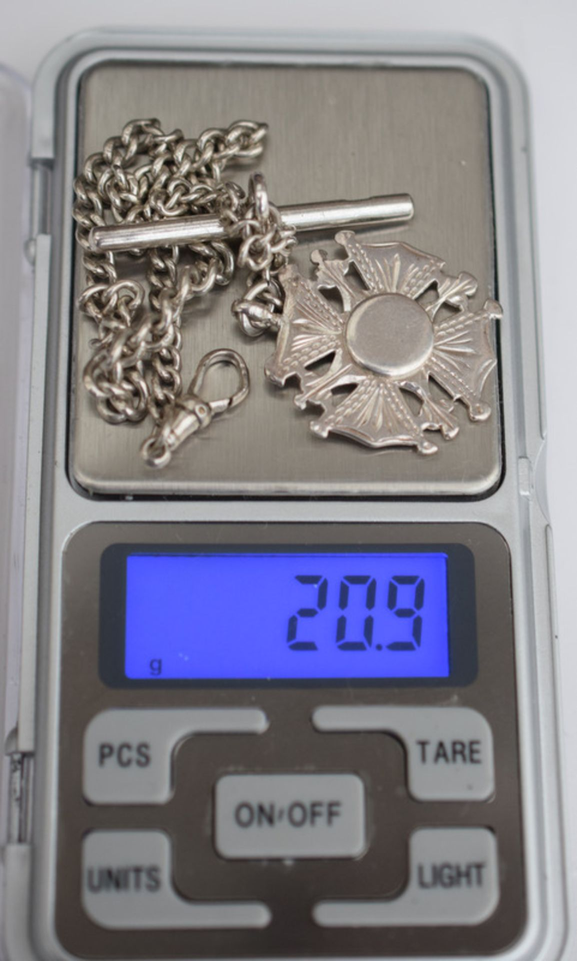 Lot 11 - Silver Albert Watch Chain And Fob 11 inches 20.9grms