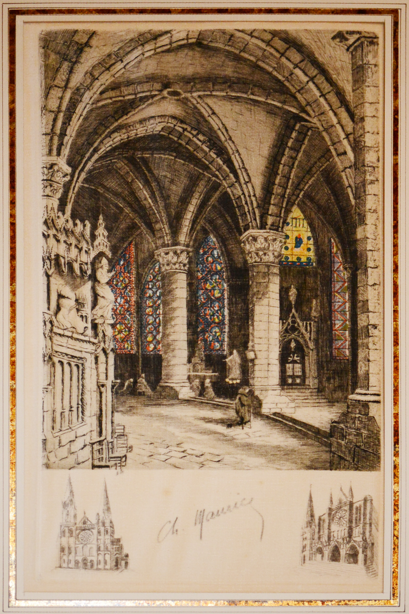 Lot 21 - A pair of Charles Maurice hand coloured signed etchings on woven cloth