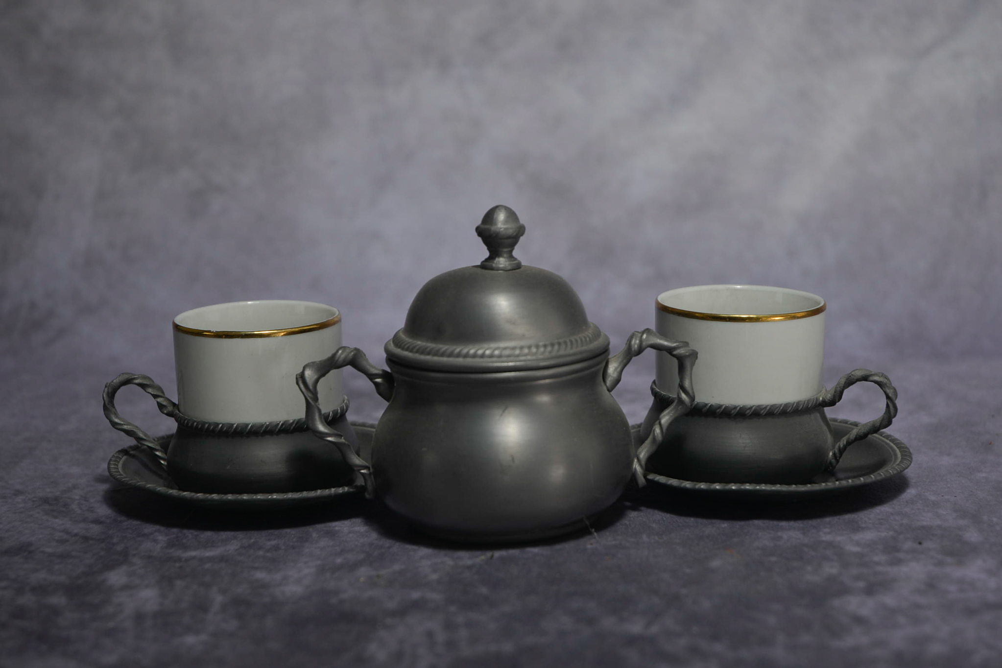Lot 48 - Etain Pewter tin Espresso Porcelain Cup & Saucers