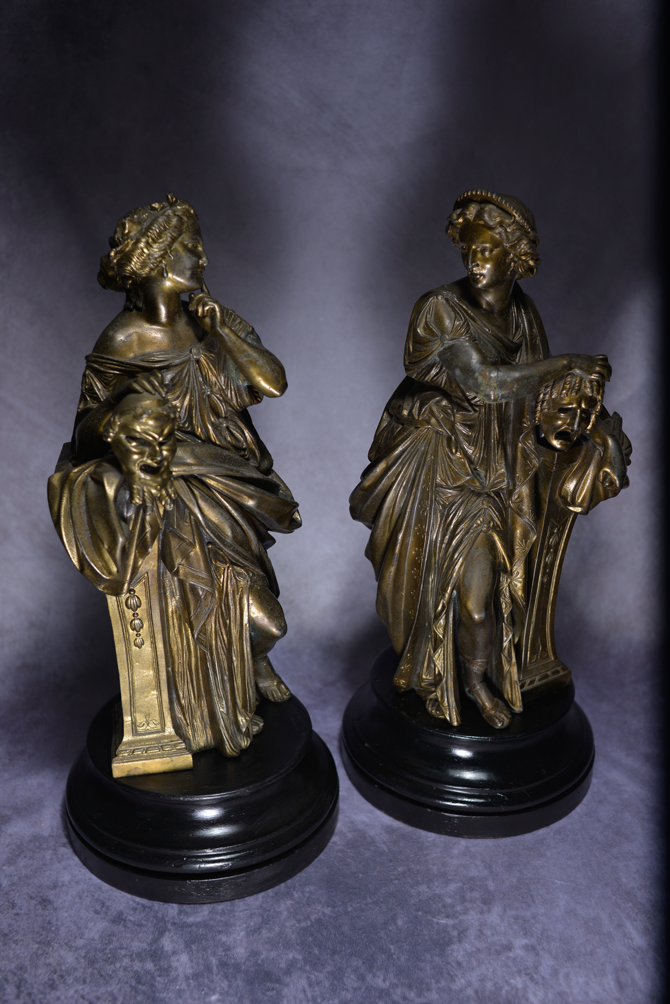 Lot 14 - A Beautiful Pair Of 19Th Century Spelter Theatrical Statuettes
