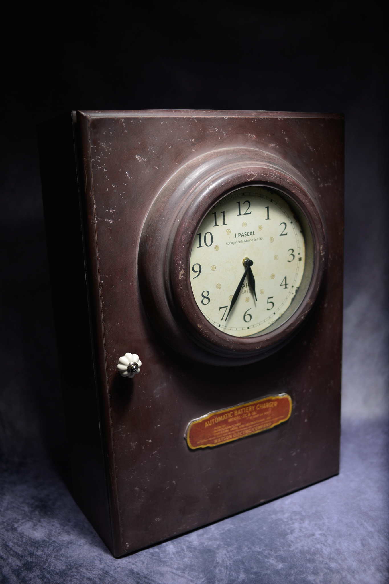 Lot 13 - Retro Metal Industrial Cabinet Converted Into A Clock