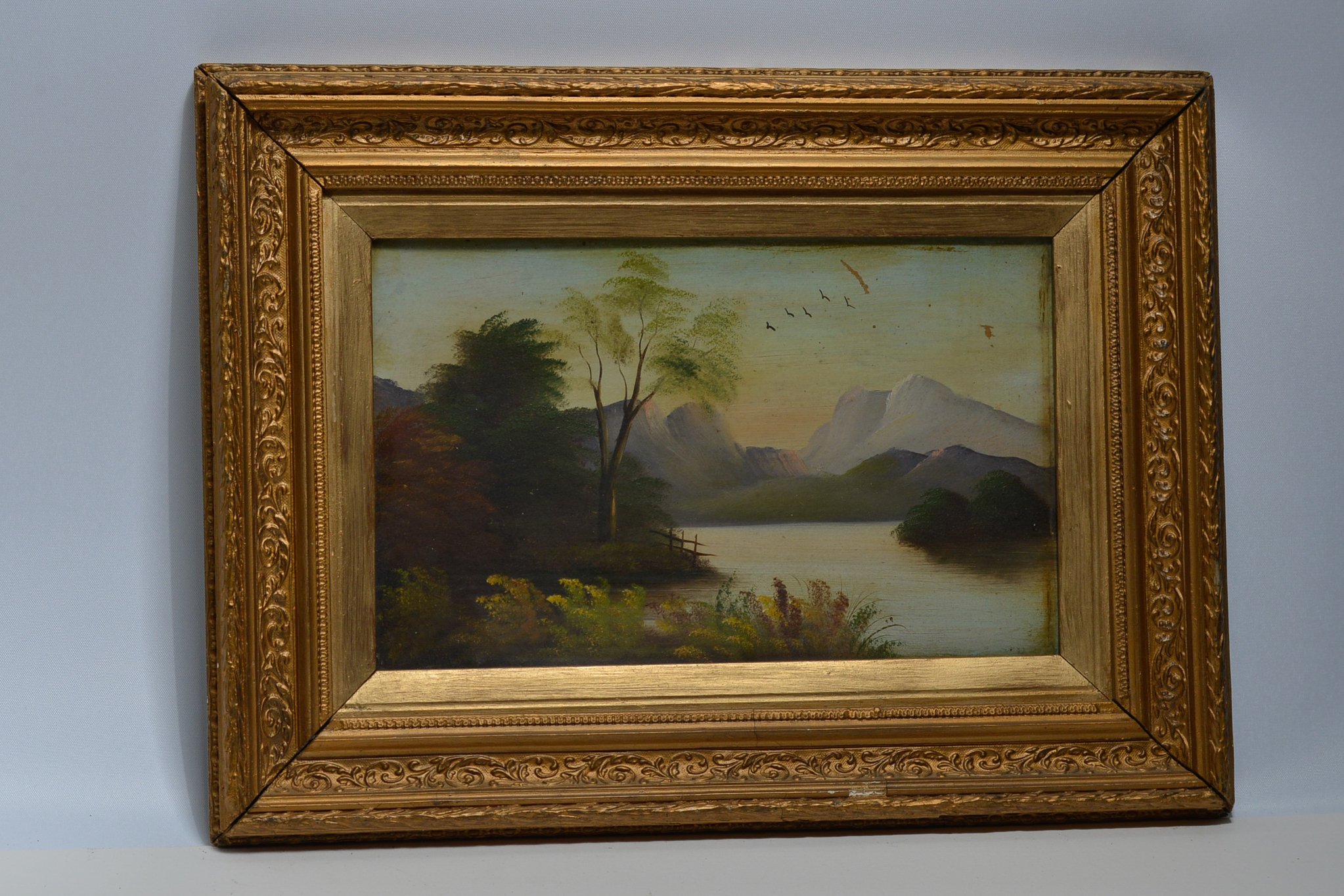 Lot 33 - 2 gilt framed oil on board