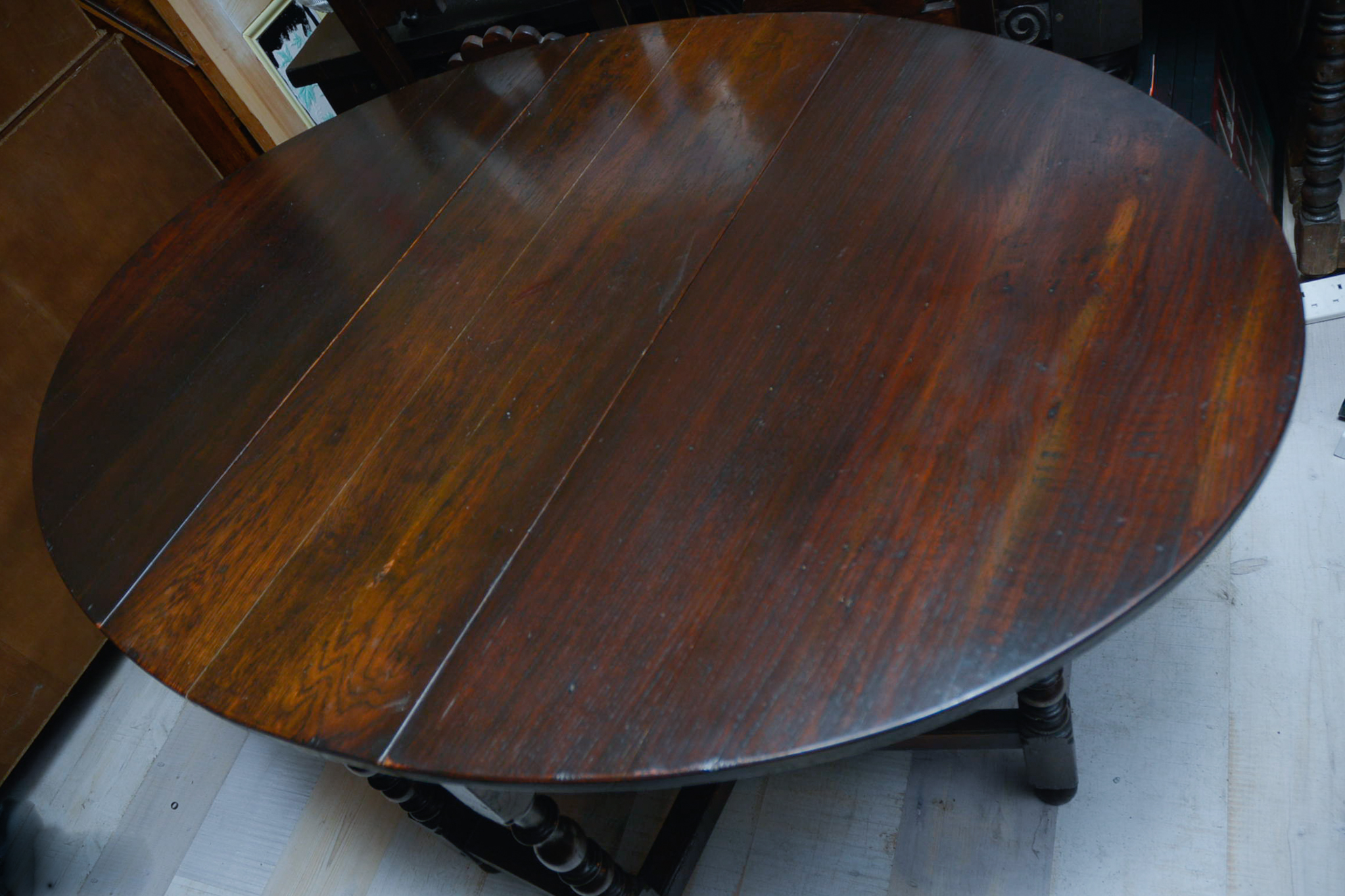Lot 5 - Mid 20Th Century Oak Drop Leaf Table.
