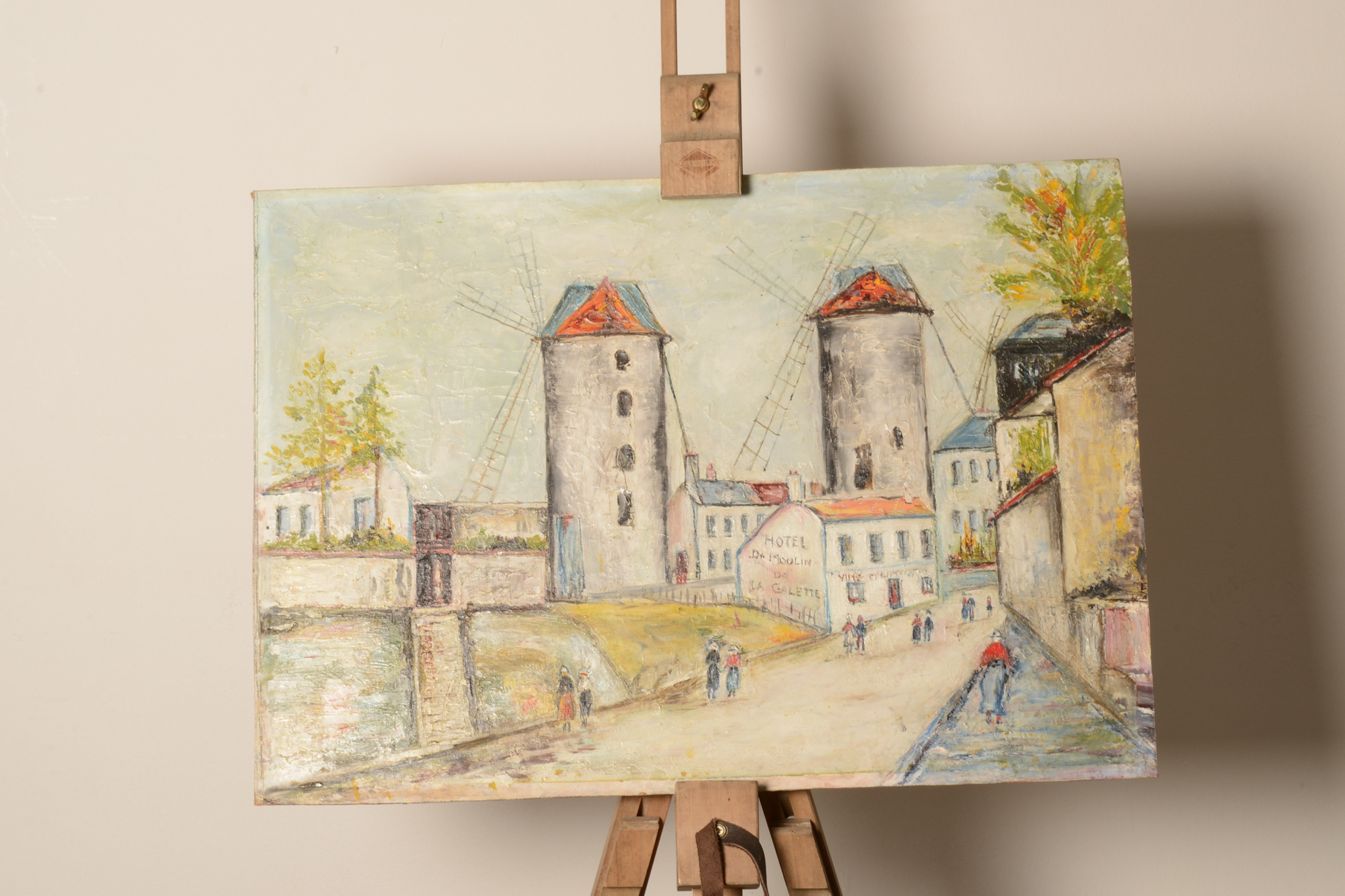 Lot 23 - Oil on board. French scene. Unsigned.