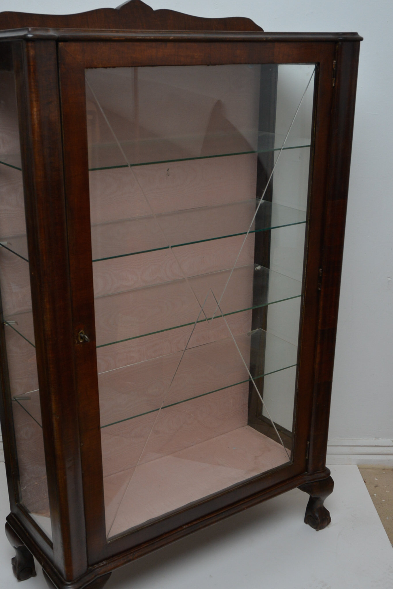 Lot 18 - Art Deco Bevel Etched Glass Fronted Walnut Display Cabinet.
