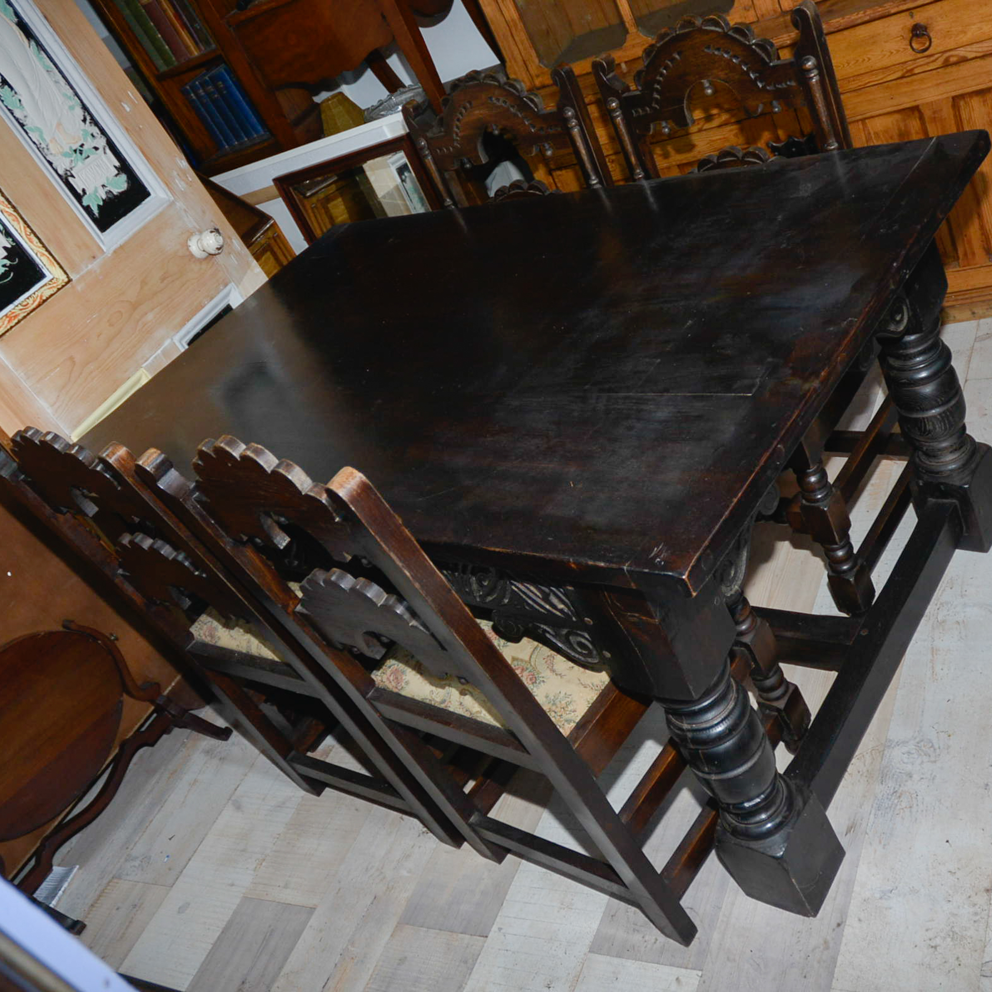 Lot 6 - Jacobean Style Oak Refectory Table With Carved Derbyshire Chairs.