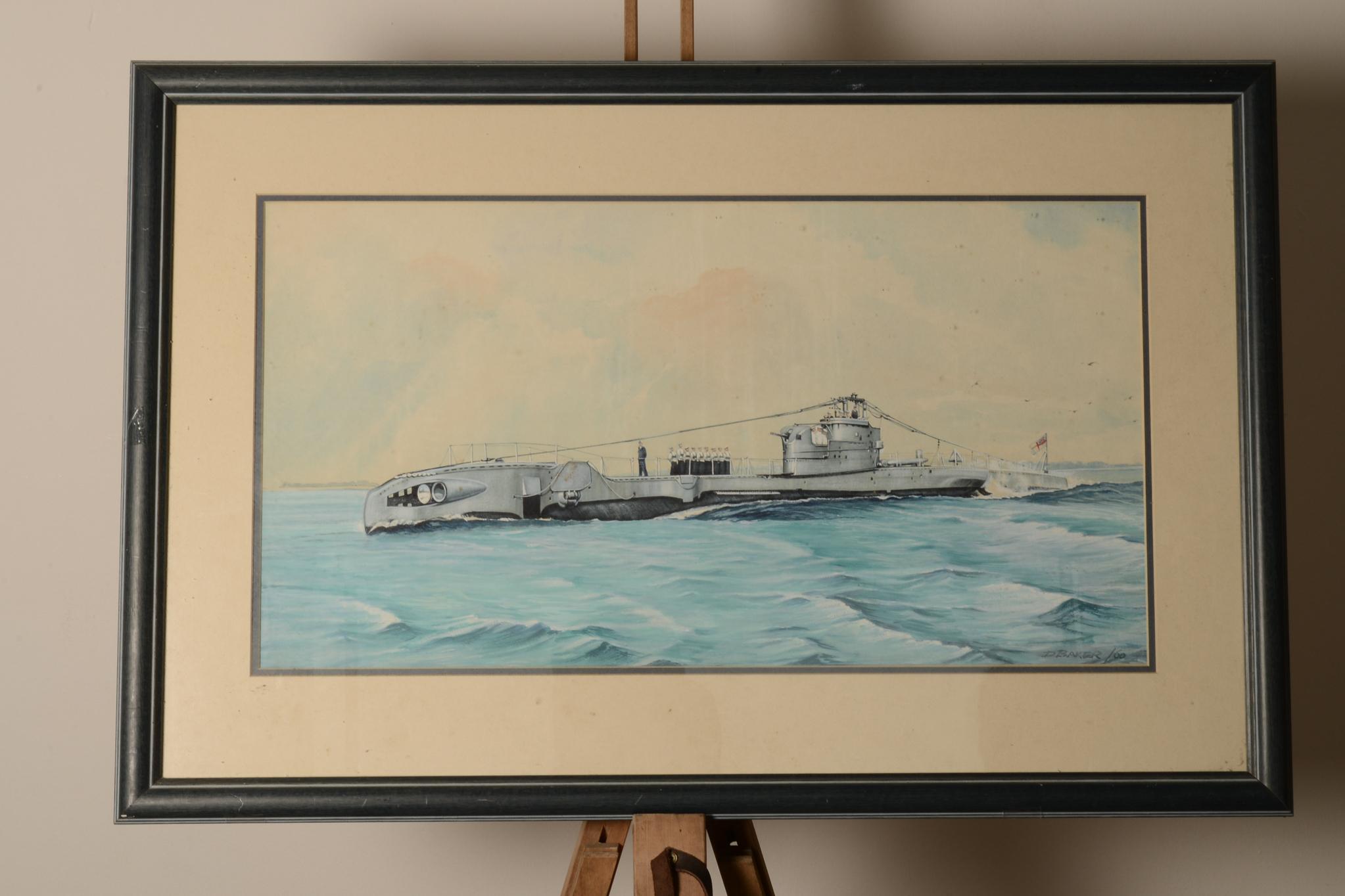 Lot 25 - 1960's Gouache illustration of WW2 Submarine. Possibly HMS Urge