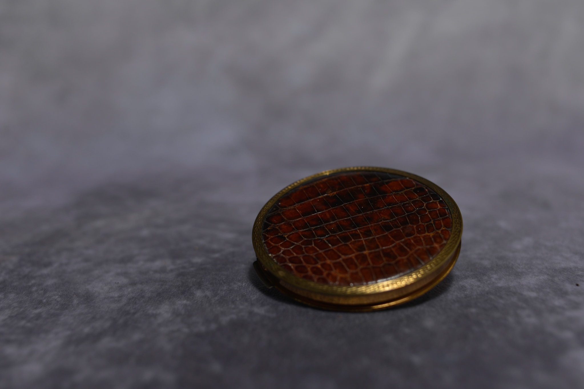 Lot 37 - Vintage compact mirror, faux snake skin powder compact, retro compact mirror