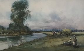 Bend in the River watercolour by Scottish artist John Maclauchlan Milne 1886-1957 Exhib R.S.A, R.A