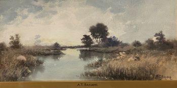 """Marshland"" watercolour by A T Bazane (American 1846-1921)"