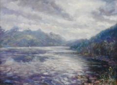 Loch Duich and the Five sisters of Kintal oil painting by Howard Butterworth