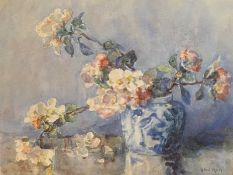 Dog Rose in Blue and white vase, watercolour by Ethel Hall (fl. 1894-1940)