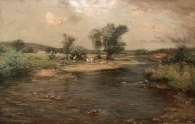 Joseph Morris Henderson Large impressive oil painting Cattle by the River