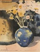 """Original signed still life watercolour """"moorcroft and daisies"""" by Scottish artist Nigel Grounds"""