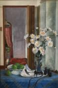 Original oil still life Flowers and Apples by Scottish artist Robert Wilkie
