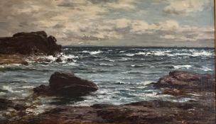 Joseph Henderson RSW (1832–1908) oil on canvas large seascape Scottish Coastline