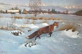 Fox in winter by Scottish artist Peter Munro Born 1954 exhib R.S.A