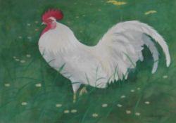 Cockerel watercolour by Scottish artist Ralston Gudgeon 1910-1984 exhib R.S.A – R.S.W
