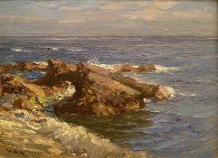Rock at Auchmithie by Scottish artist William Bradley Lamond RBA (1857-1924)