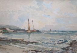 Original signed watercolour Carridale Coast by James Morris 1857-1942